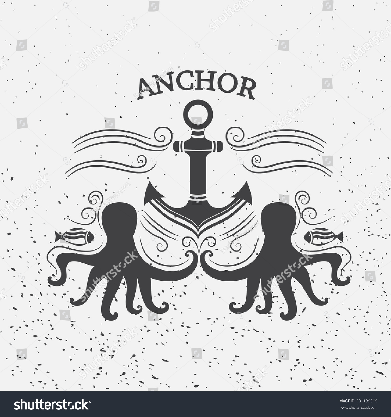 Shirt design octopus - Vintage Label With Anchor And Octopus Sea Vector Illustration For T Shirt Design
