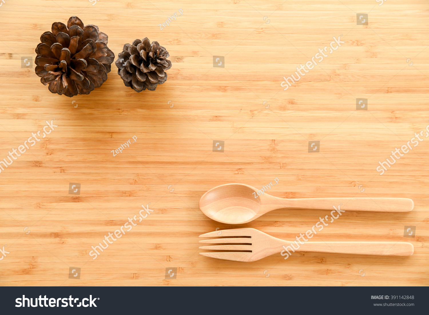 Wooden Spoon Fork Pine Cones On Stock Photo (Royalty Free) 391142848 ...