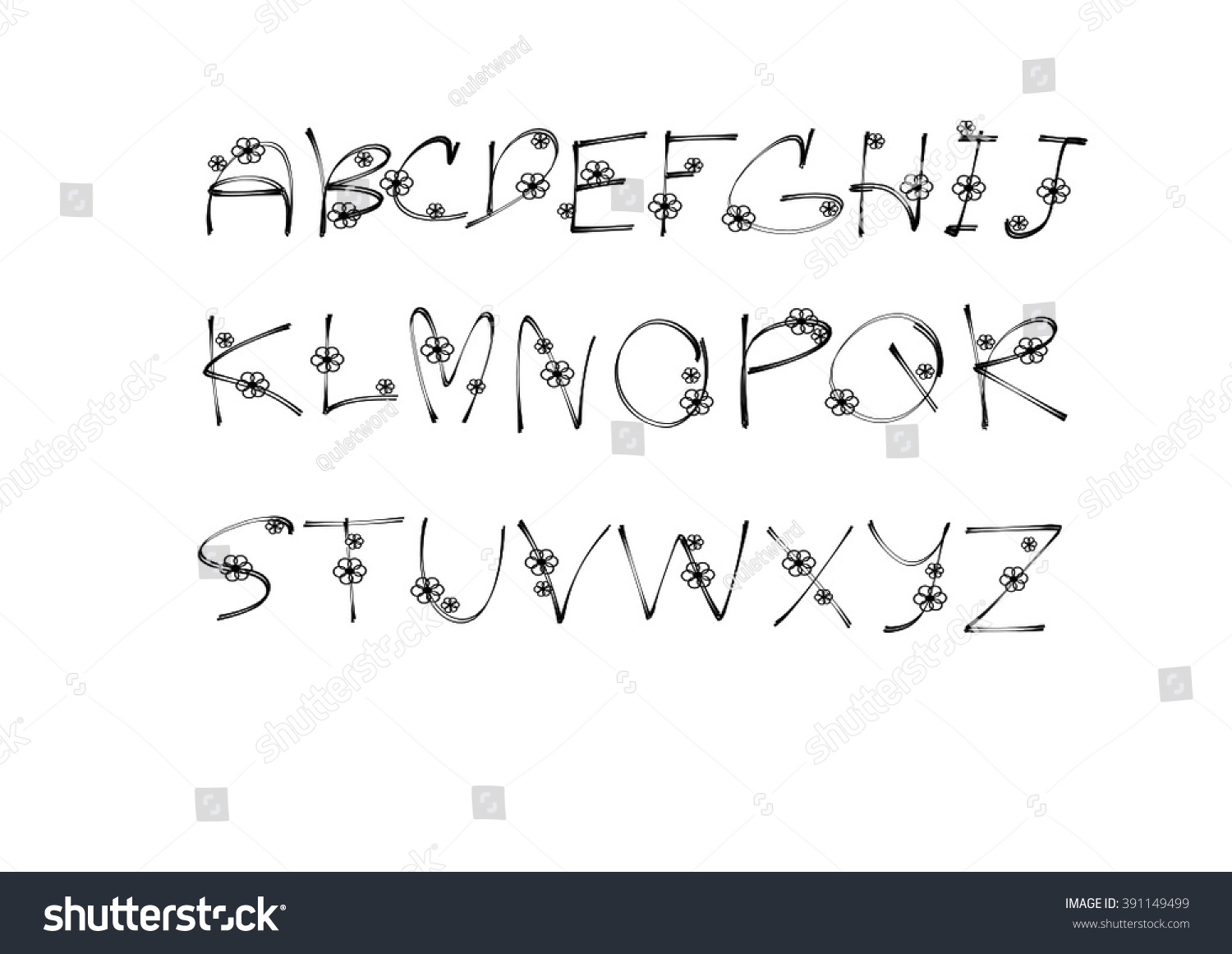 Plain Simple Hand Write Alphabet With Flower Vector Font