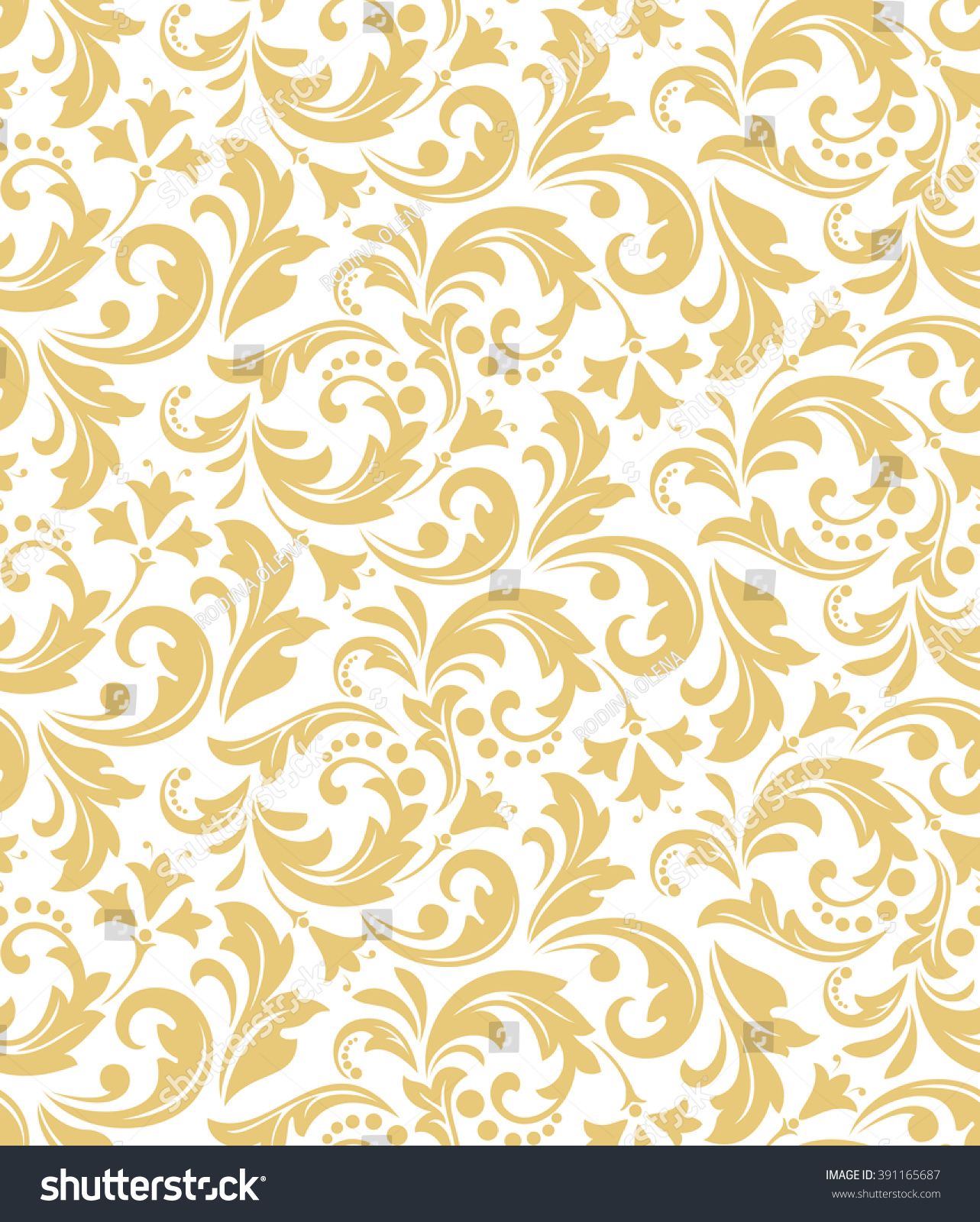 Floral Pattern Wallpaper Baroque Damask Seamless Stock Vector