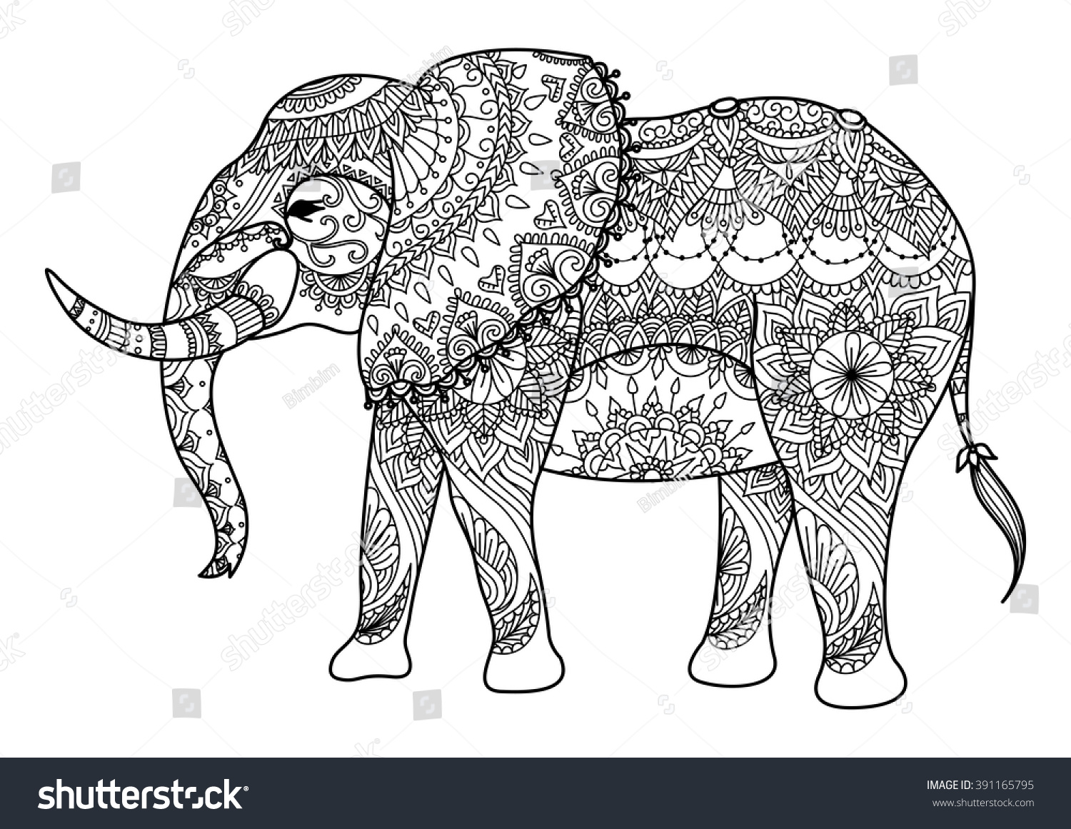 Line Art Card Design : Mandala elephant line art design card stock vector