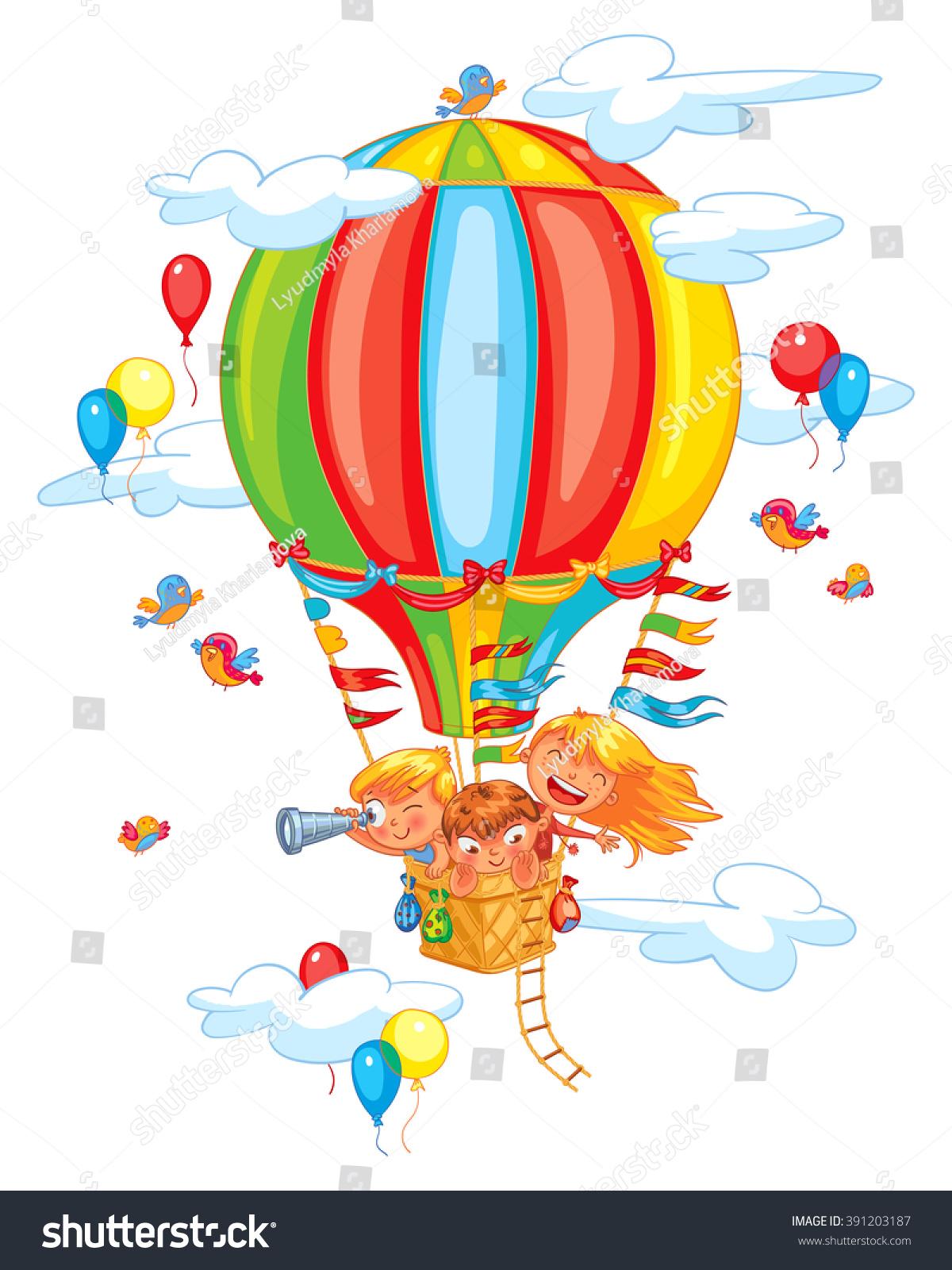 Cartoon Kids Riding Hot Air Balloon. Funny Cartoon ...