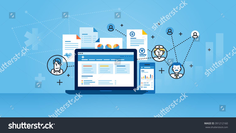 Line Design Solutions : Flat line design website banner health stock vector