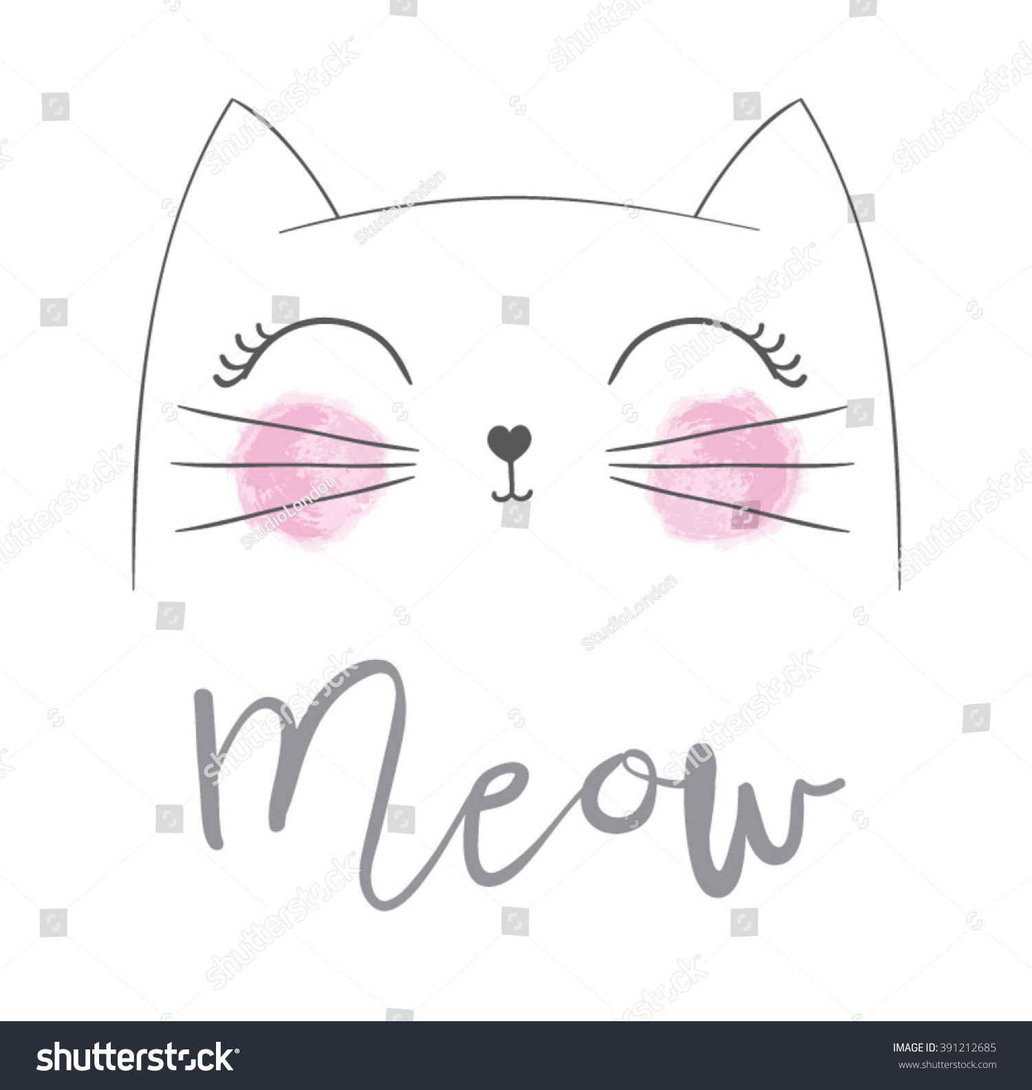 I love you cat drawing