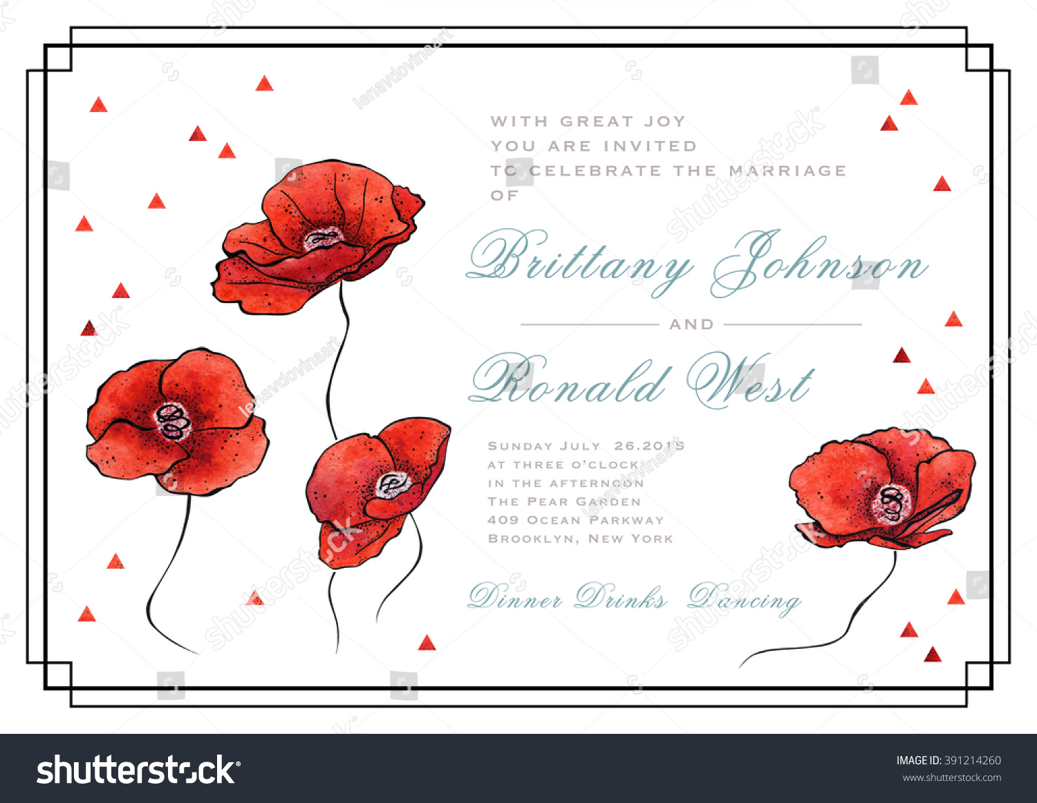 Invitation Template Different Stylized Red Poppies Stock ...