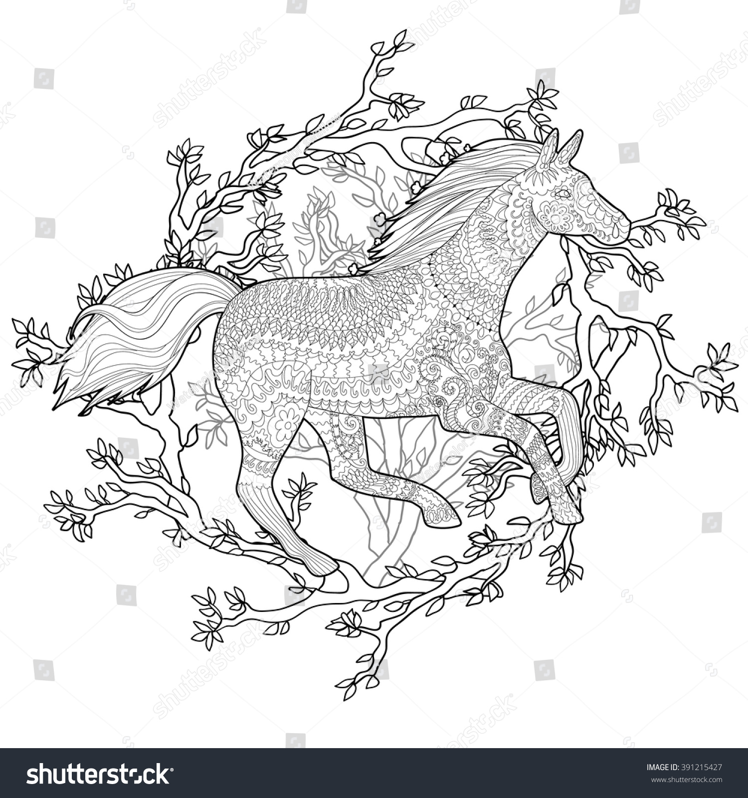 art therapy coloring pages - adult coloring page antistress art therapy stock vector