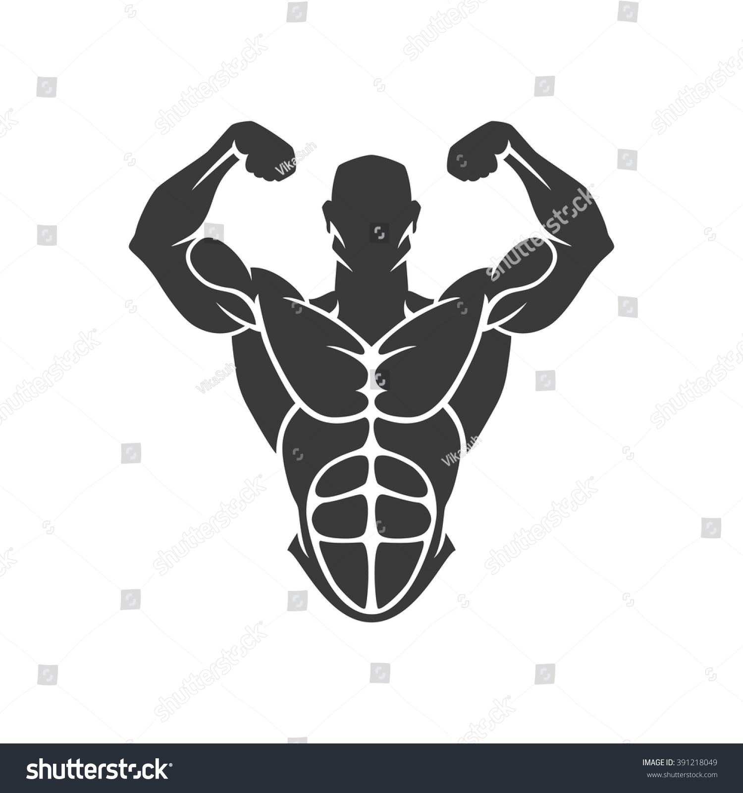 Bodybuilder Logo Template Vector Object Icons Stock-vektorgrafik ...