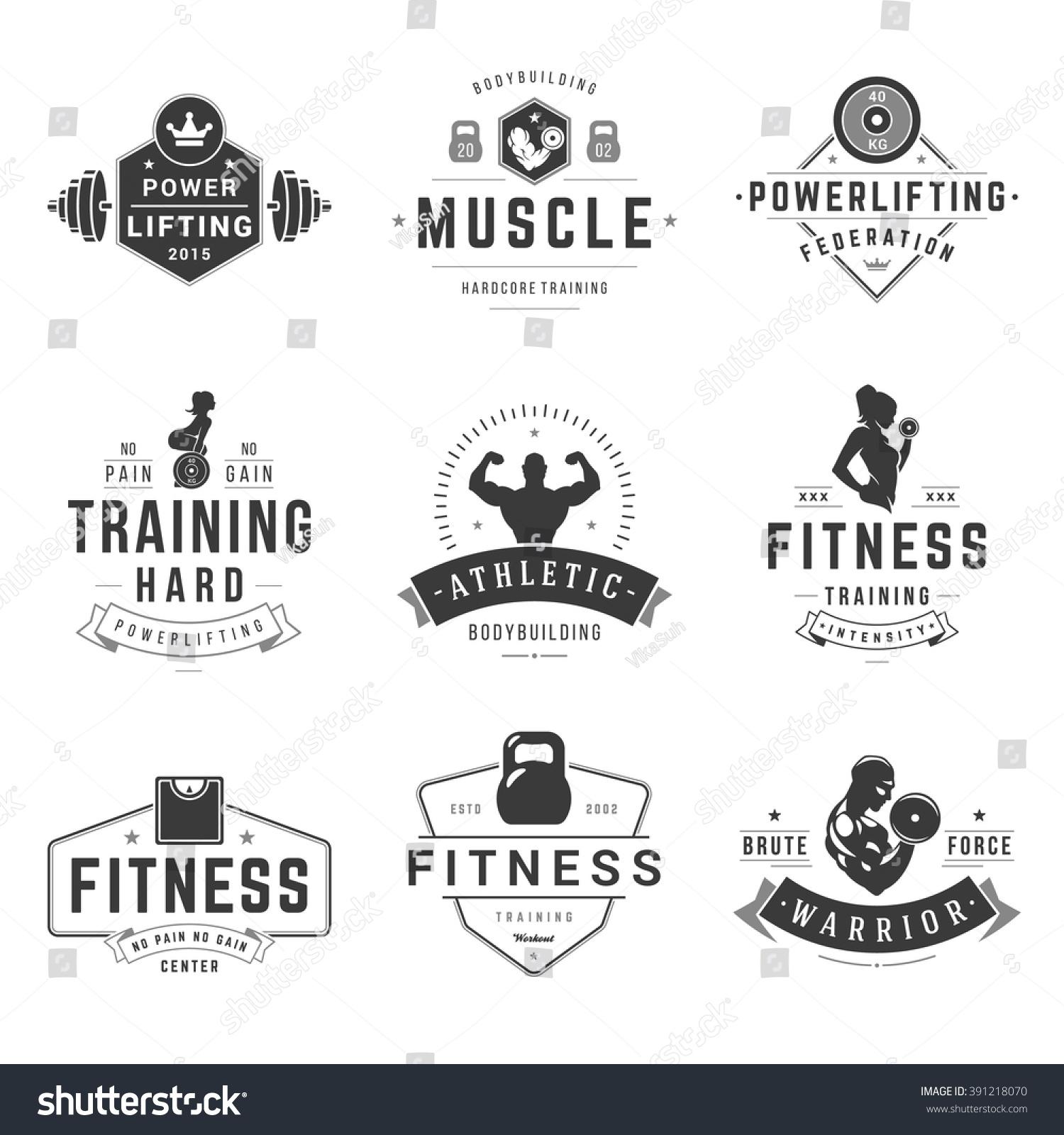 fitness logos templates set vector object stock vector