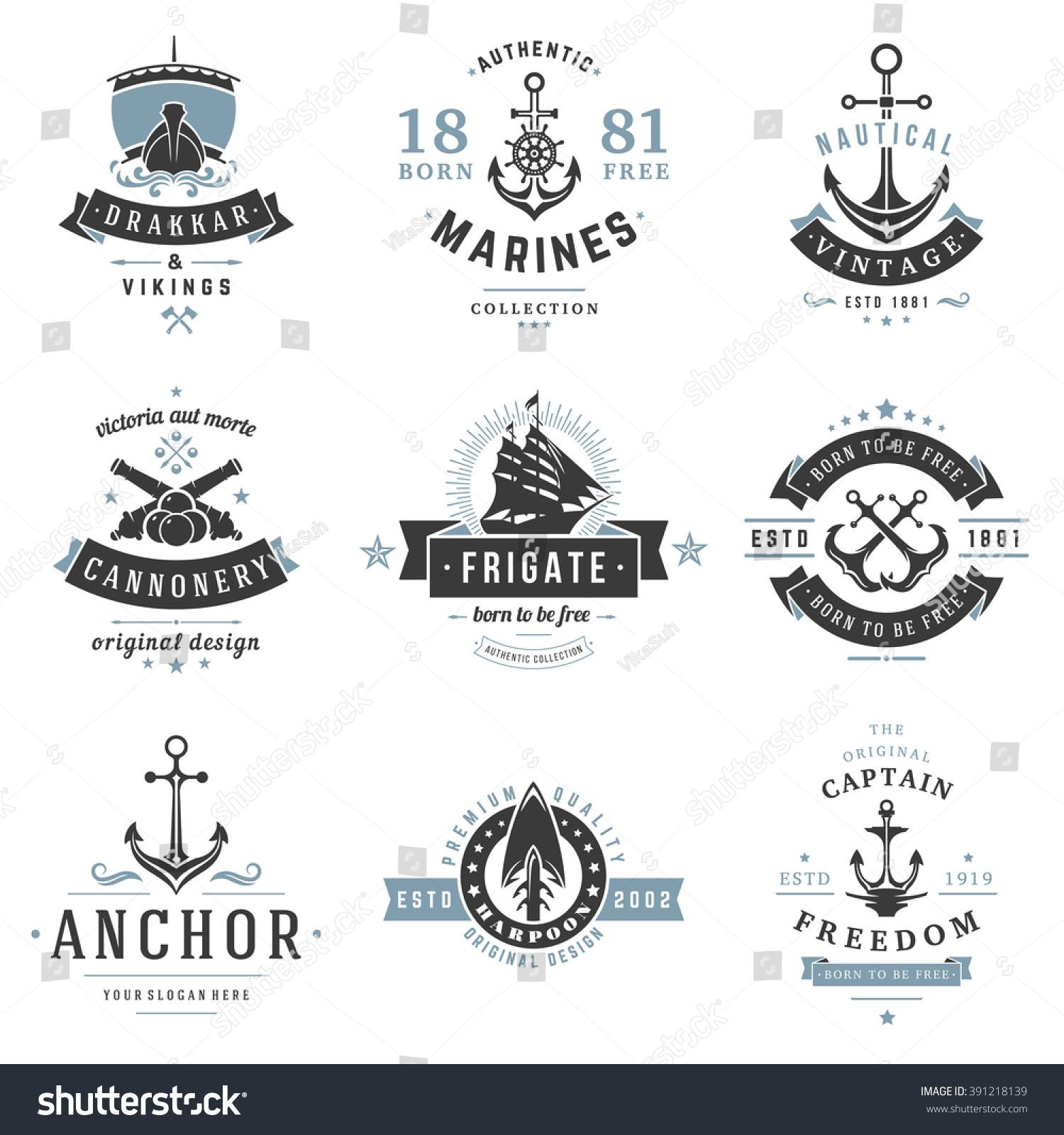 Nautical Logos Templates Set Vector Object Stock Vector