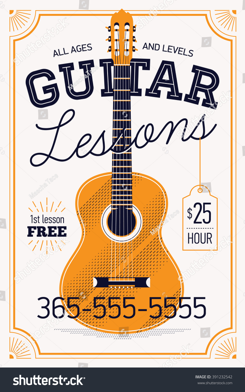 Guitar Lessons Vector Poster Or Banner Template With Vintage Feel Musical Education Concept Layout
