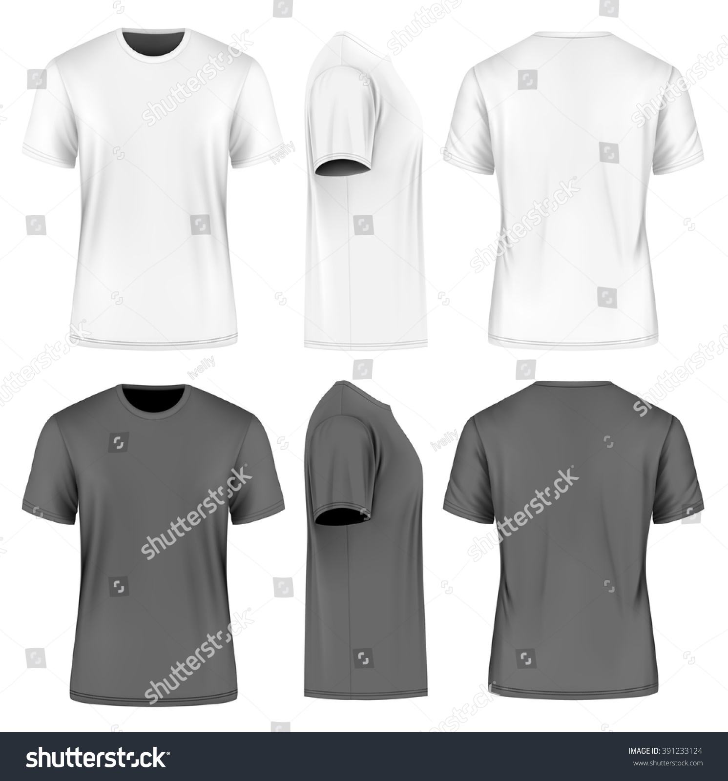 Mens short round neck tshirt front stock vector 391233124 for Custom photo t shirts front and back