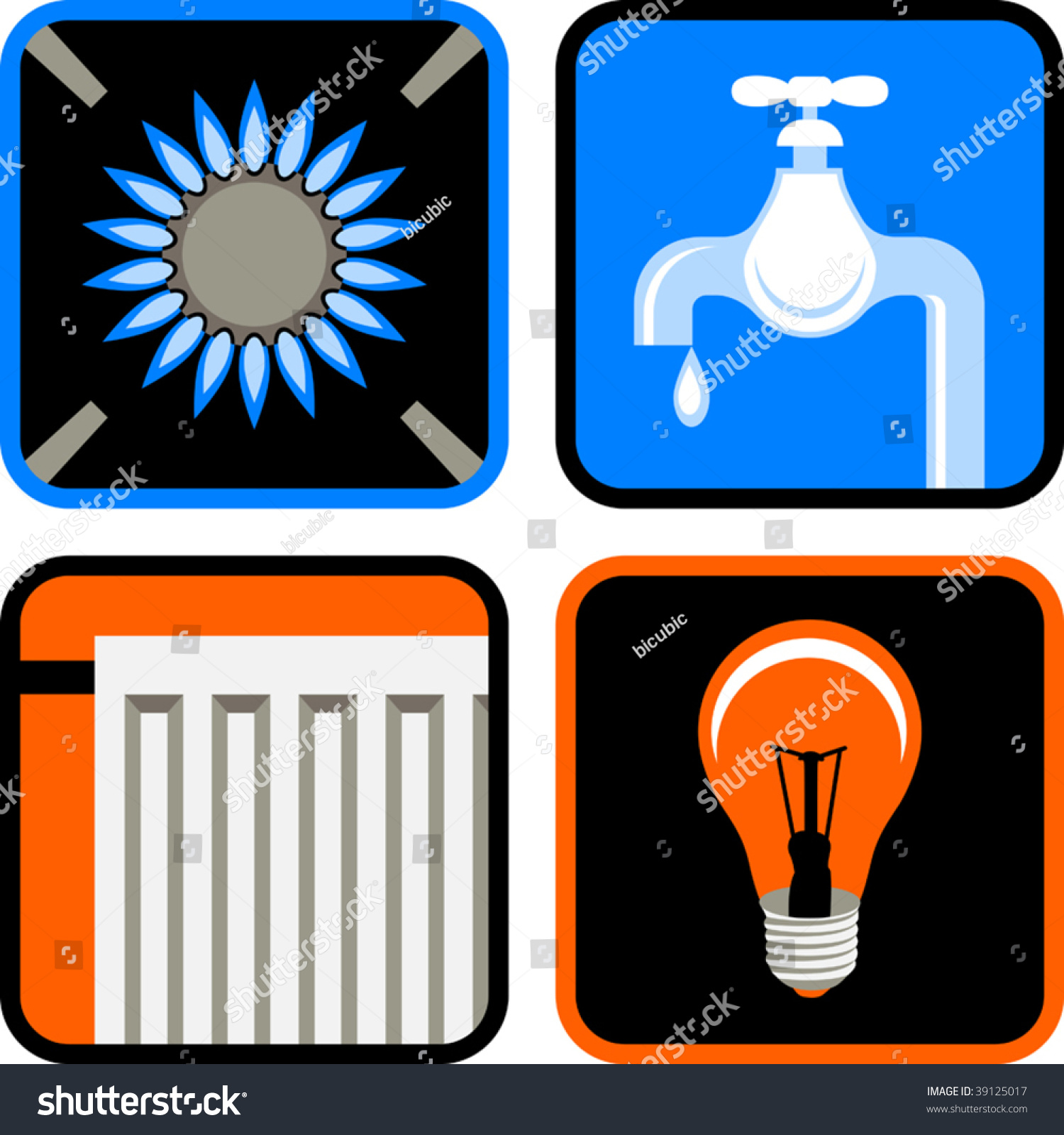 Vector Icon Set Of Four Essential Public Services: Gas ...