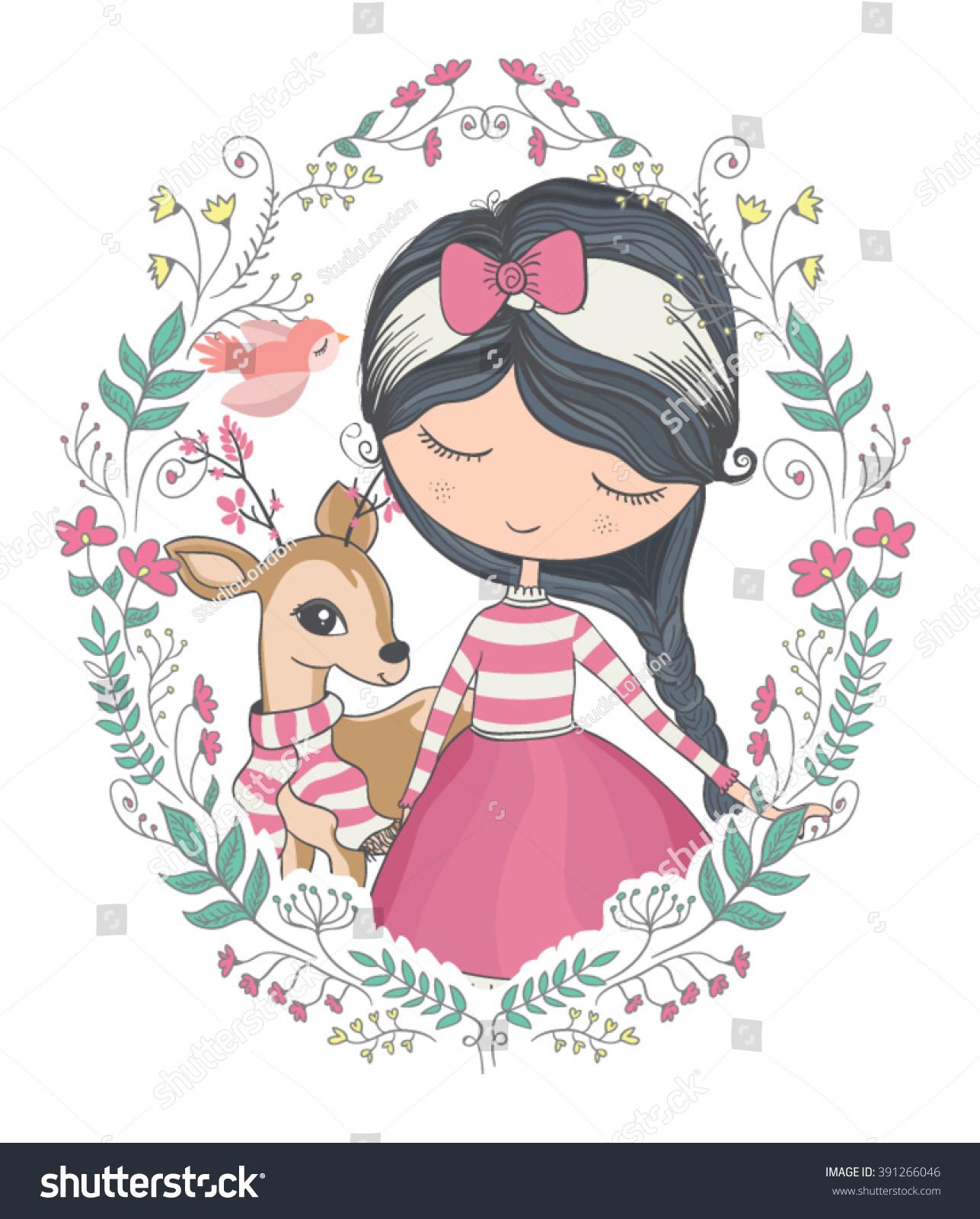 http://image.shutterstock.com/z/stock-vector-girl-vector-t-shirt-print-dear-vector-animal-pattern-animal-vector-cute-girl-vector-book-391266046.jpg Girl