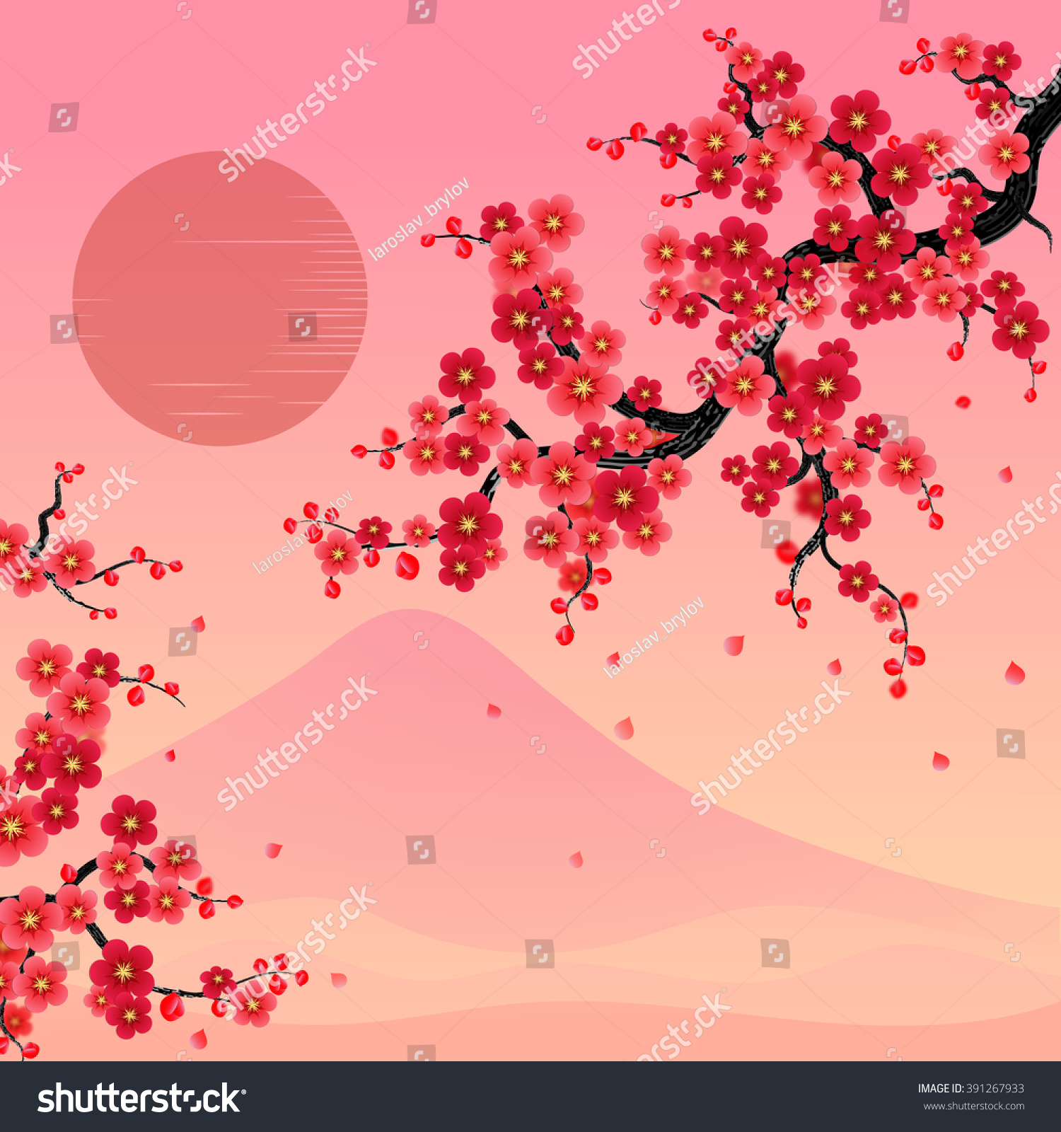 Elegant Soft Red Color Cherry Flowers Stock Vector 391267933 ...