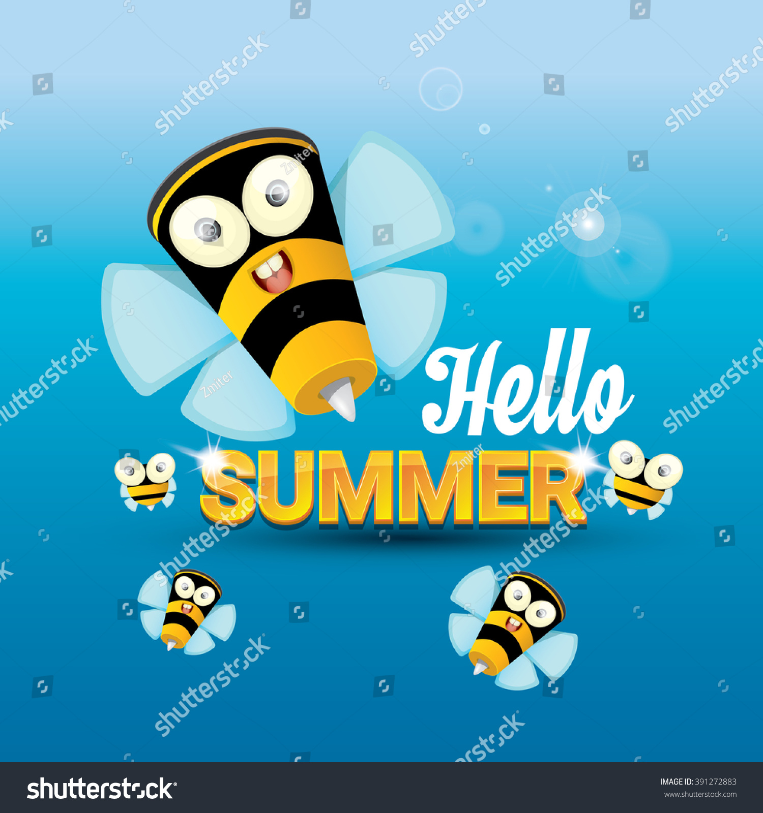 Hello Summer Vector Background With Sunny Sky And Baby Bee Flying. Kids  Background With Funny
