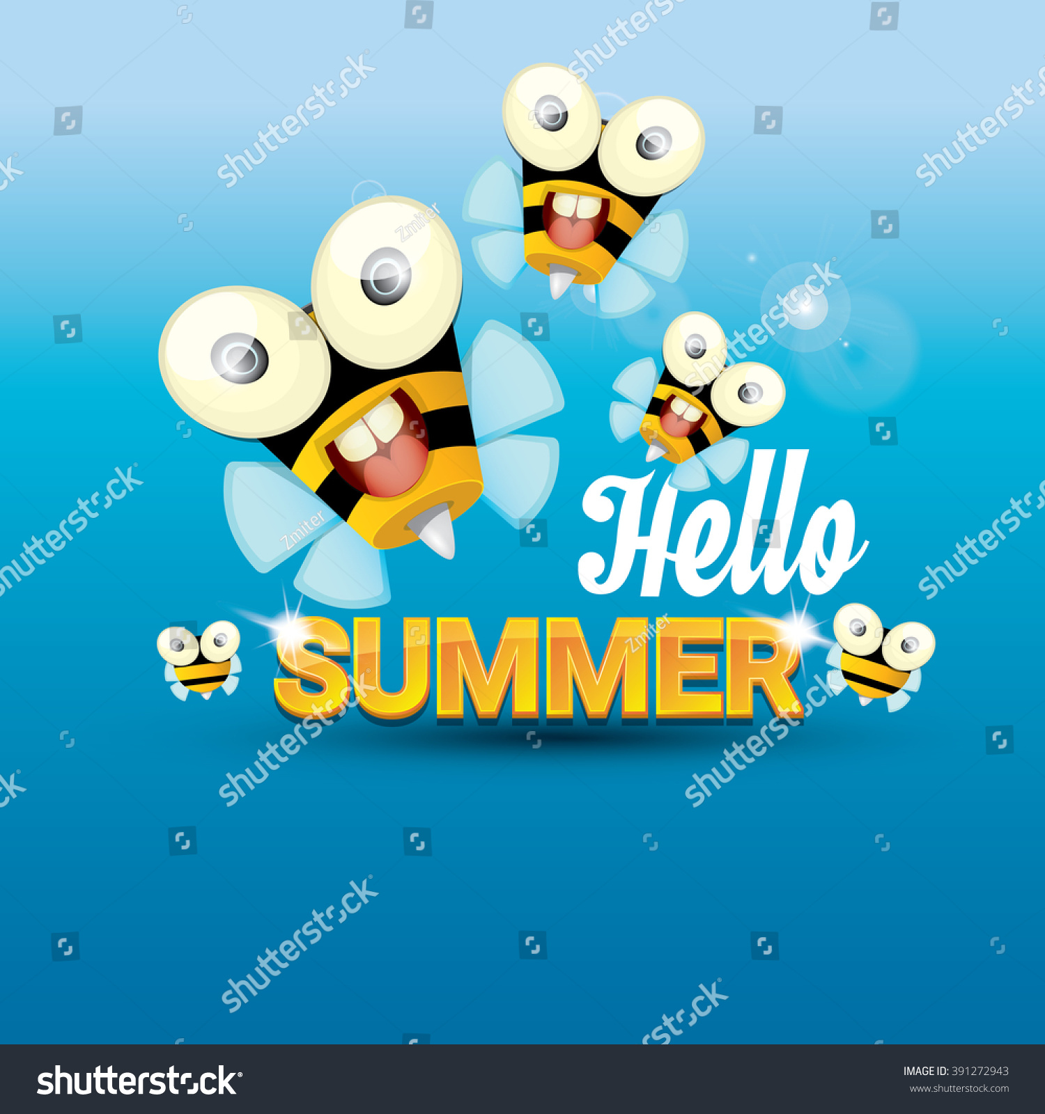 Superior Hello Summer Vector Background With Sunny Sky And Baby Bee Flying. Kids  Background With Funny