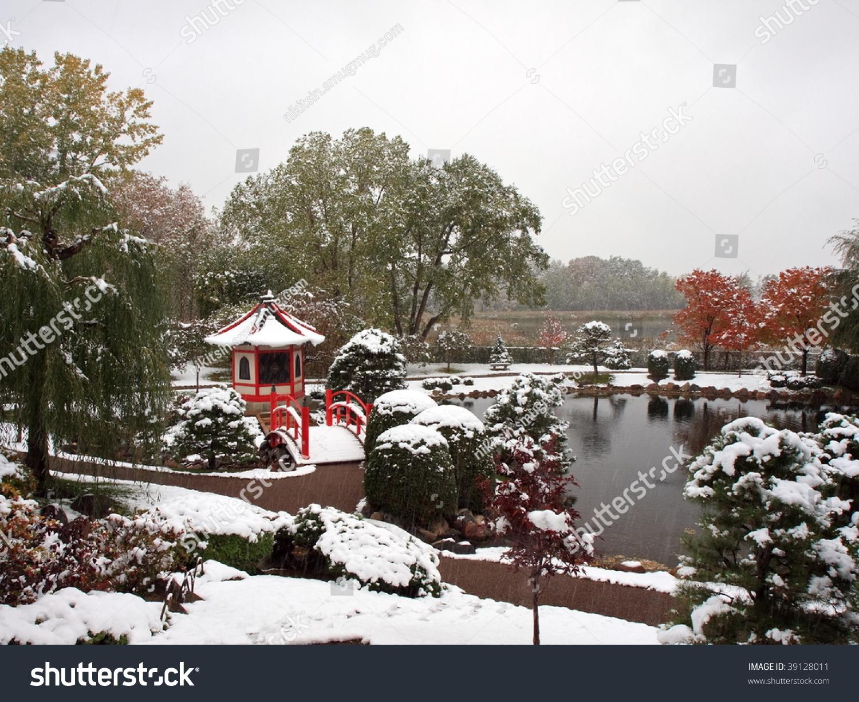 horizontal view japanese garden near normandale stock photo