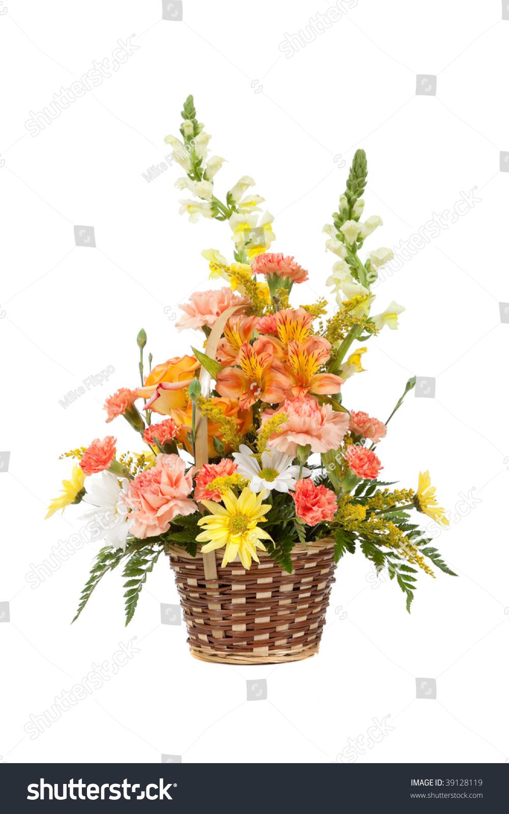 Flower arrangement including carnations irises daisy stock photo flower arrangement including carnations irises daisy greenery in a wicker basket on a white background izmirmasajfo
