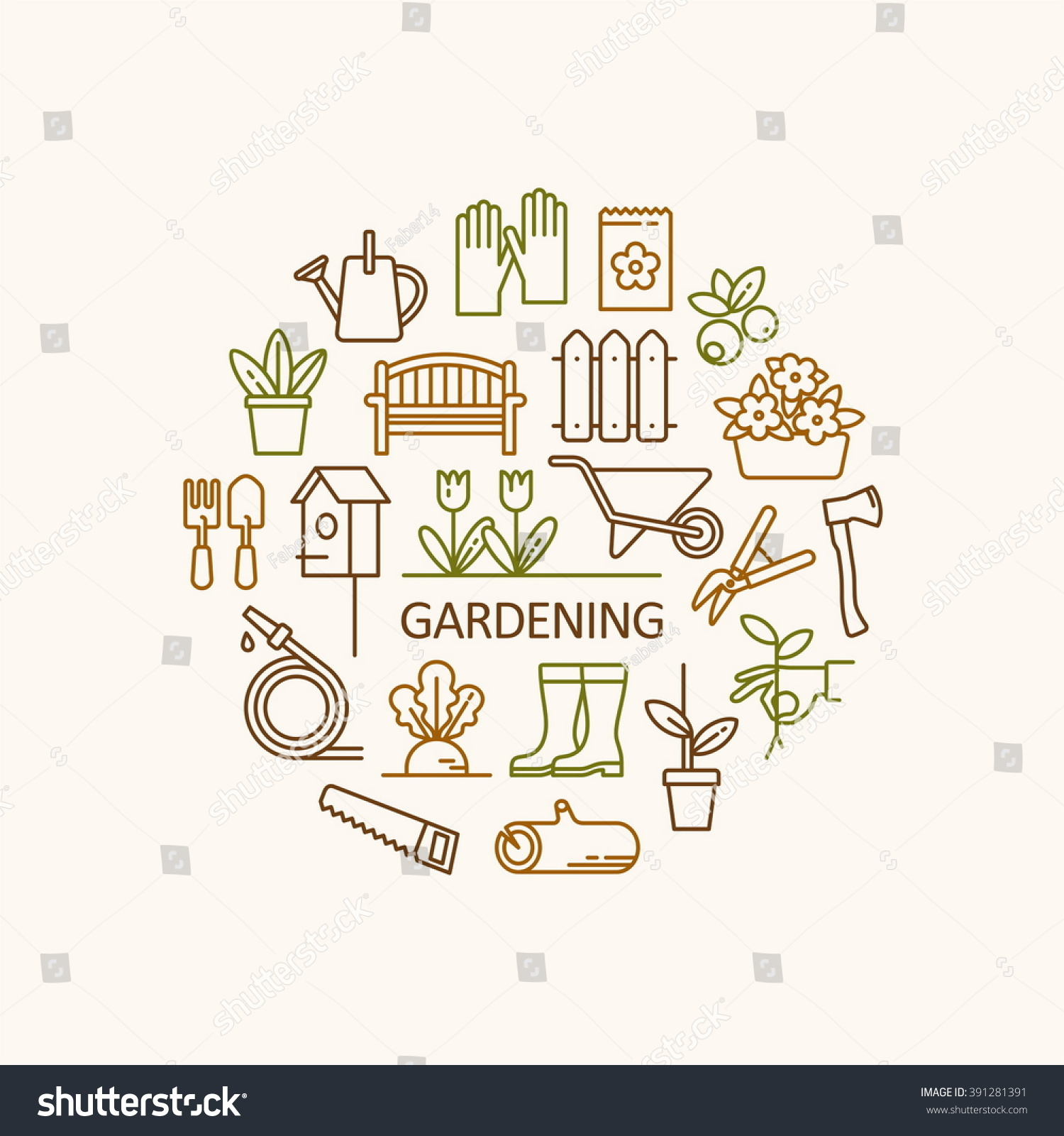 Amazing Gardening, Tools, Flowers Icons. Garden Objects For Info Graphics, Websites  And Print
