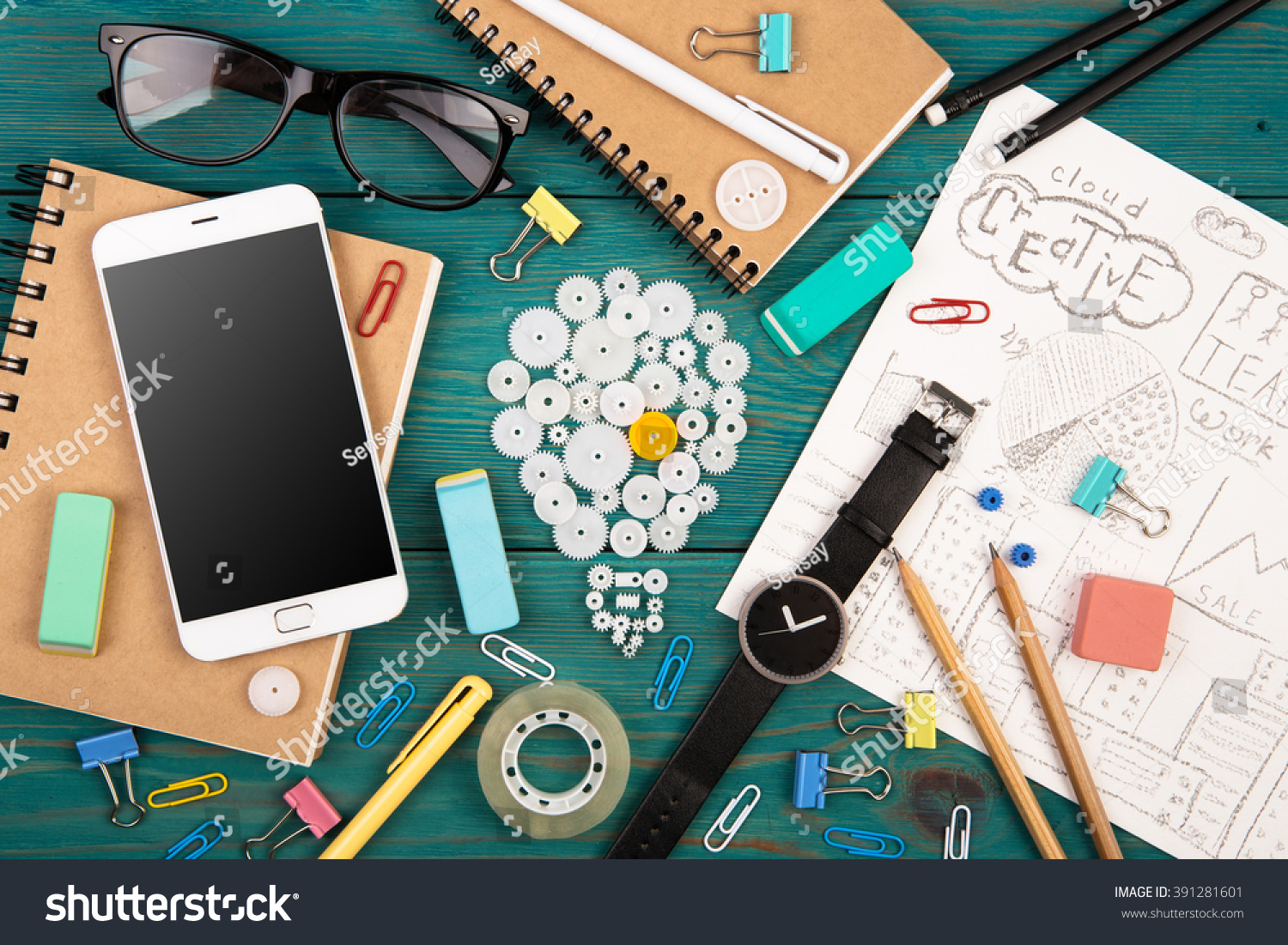 idea office supplies. Idea Concept - Phone, Watch, Notepads, Pencils And Colorful Office Supplies