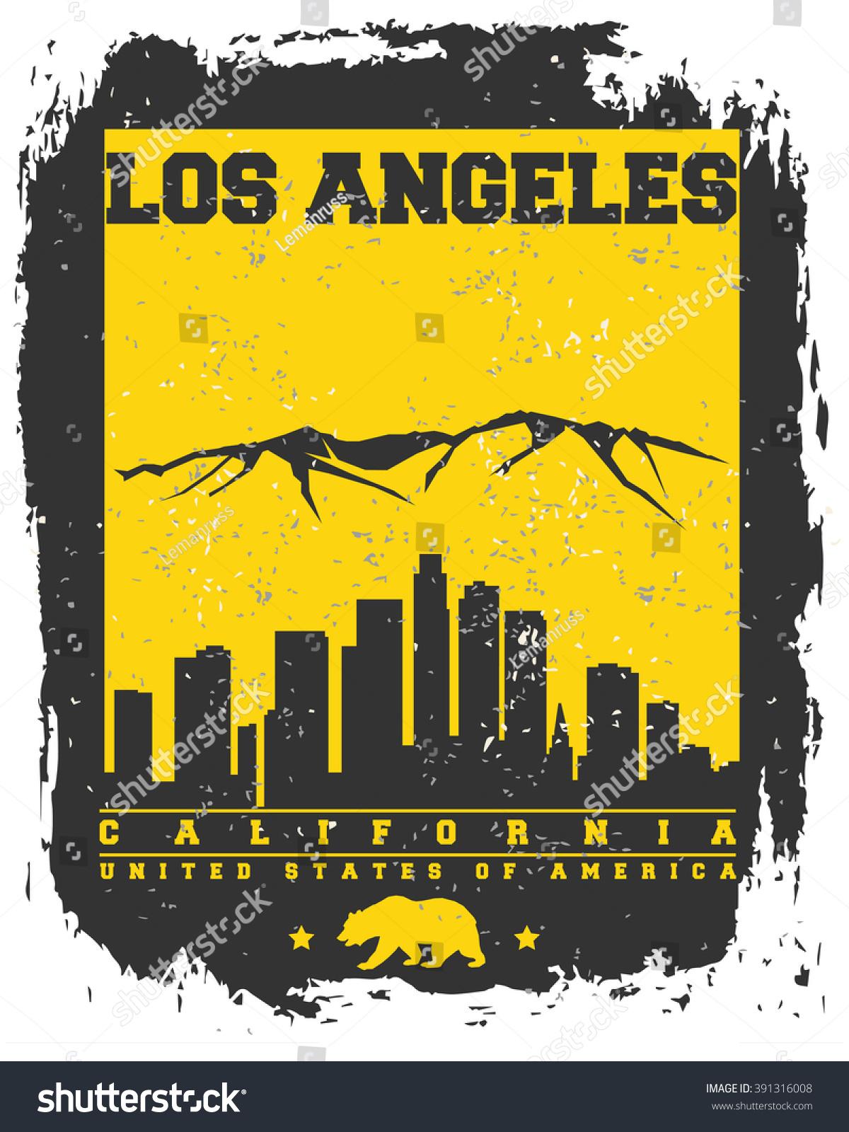 Shirt design los angeles - Los Angeles City Concept Logo Label T Shirt Design La
