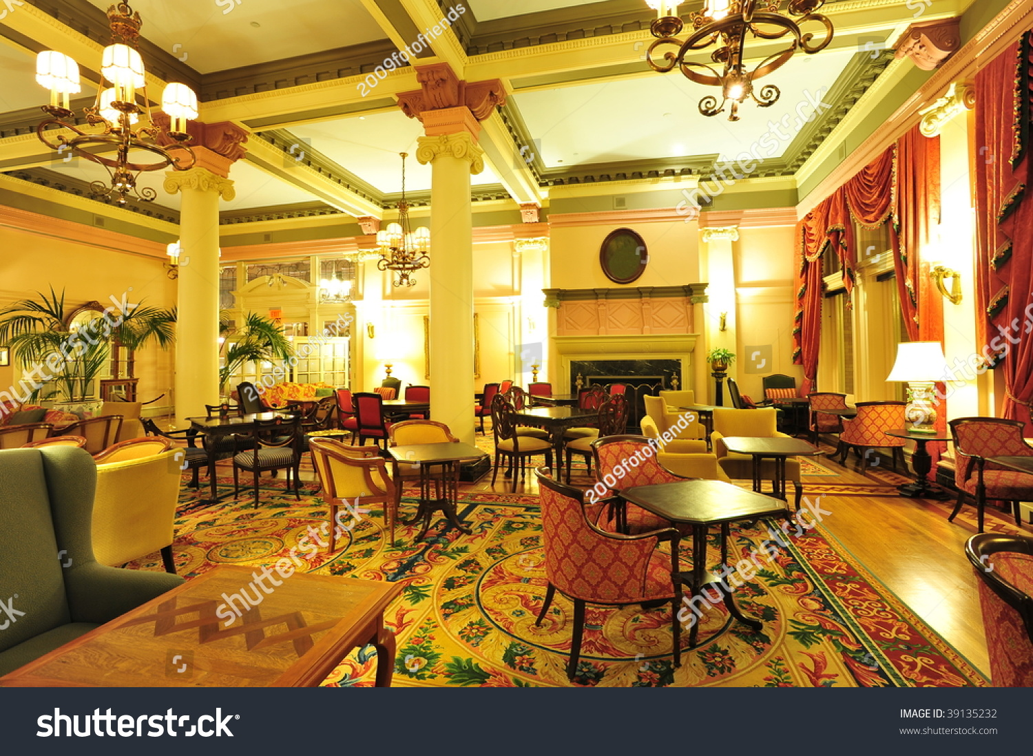 Historic Victorian Style Hotel Lobby Interior Look Stock