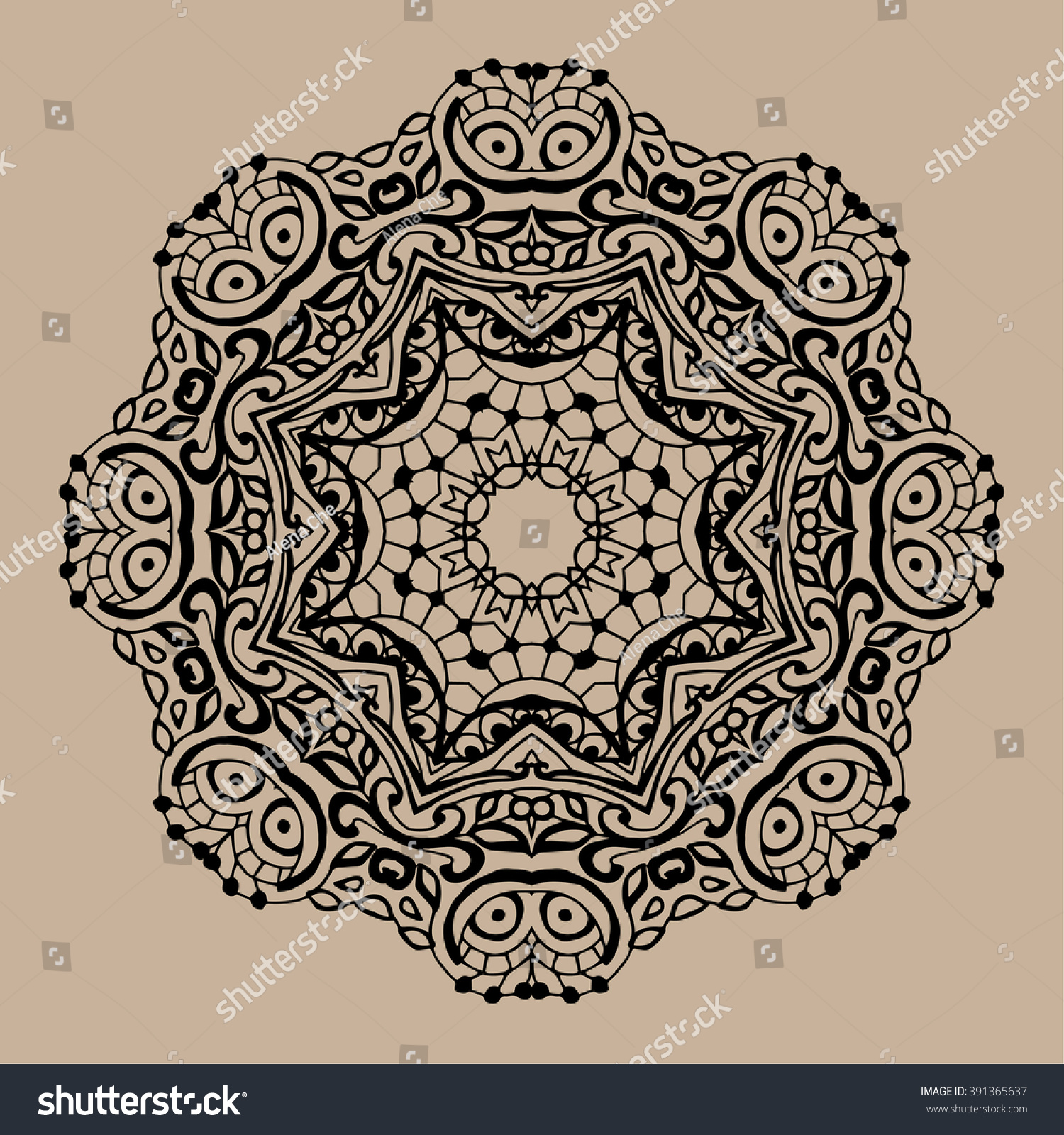 Hand Drawn Vector Zentangle Mandala Can Be Used As Coloring Book