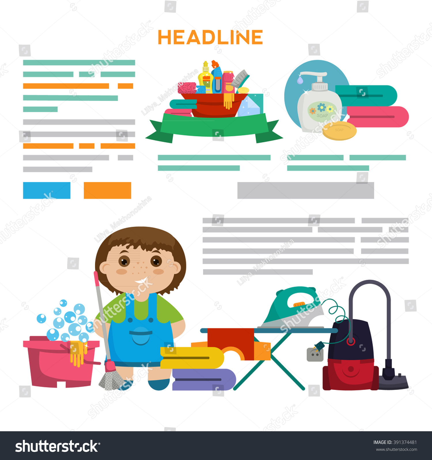 House Cleaning Flyer | Set Flyer Design Brochure Design Other Stock Vector Royalty Free