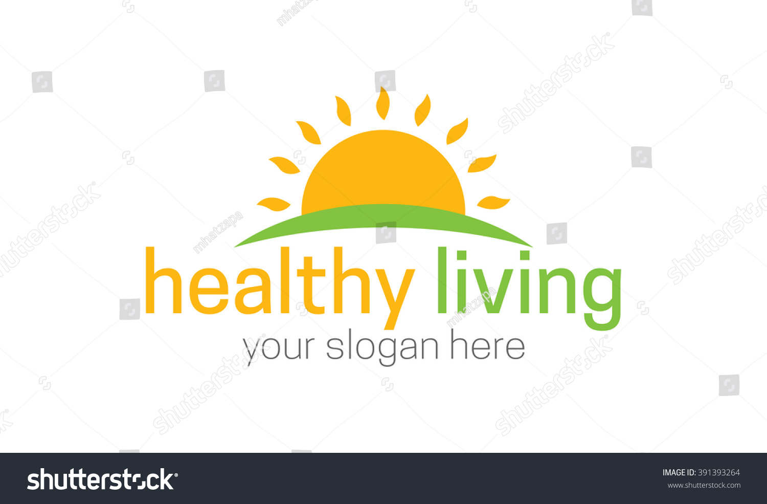 sunrise logo template suitable healthy living stock vector