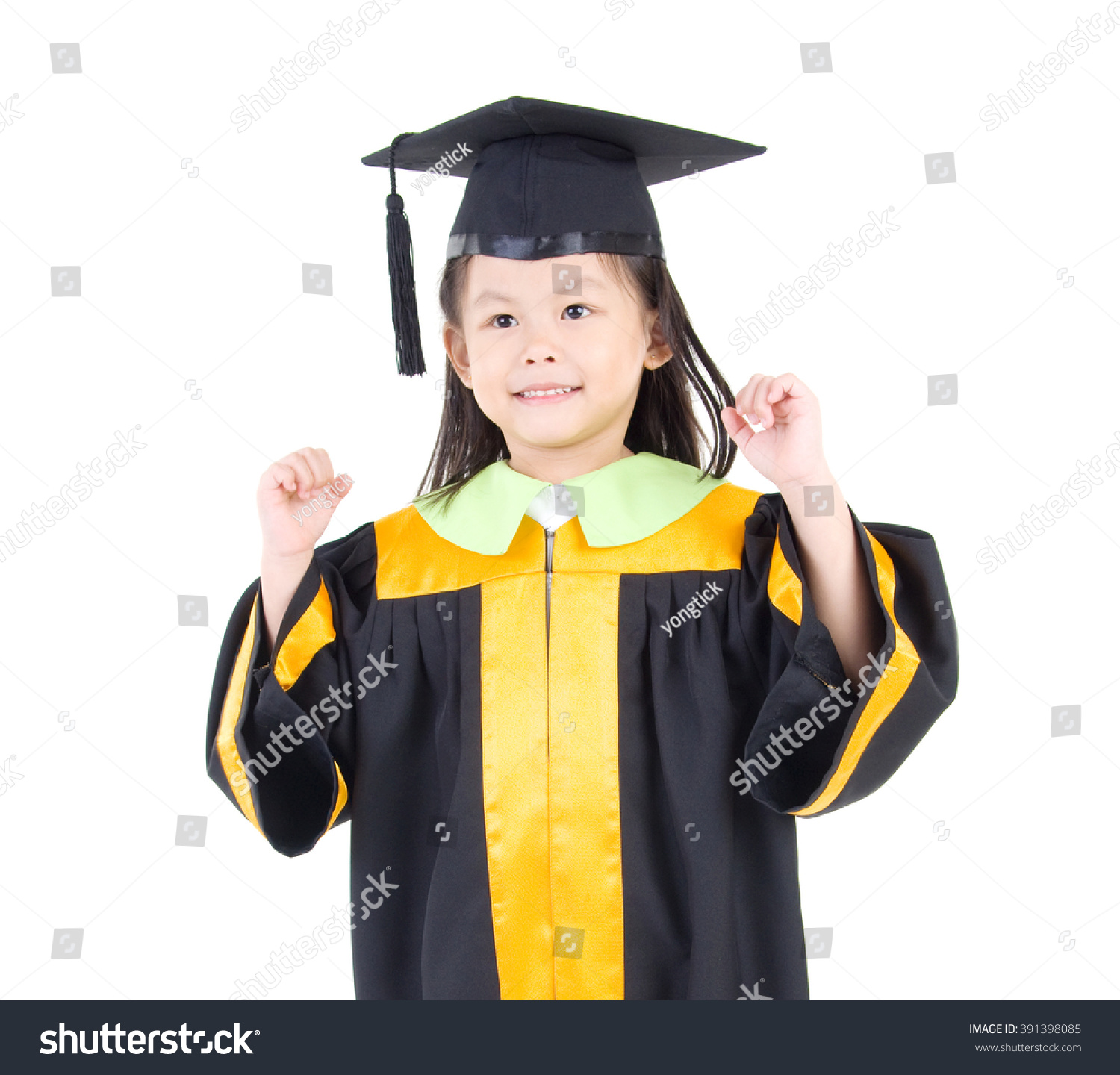 Asian Kid Graduation Gown Stock Photo (Royalty Free) 391398085 ...