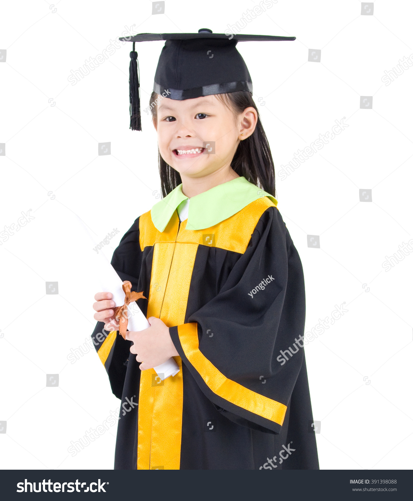 Asian Kid Graduation Gown Stock Photo (Royalty Free) 391398088 ...