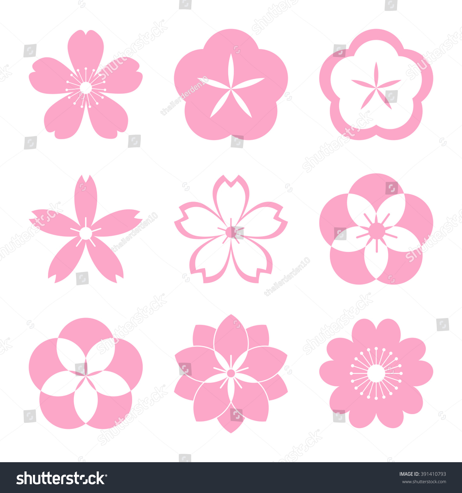 Cherry Blossom Icon Set Sakura Icon Stock Vector 391410793 ...