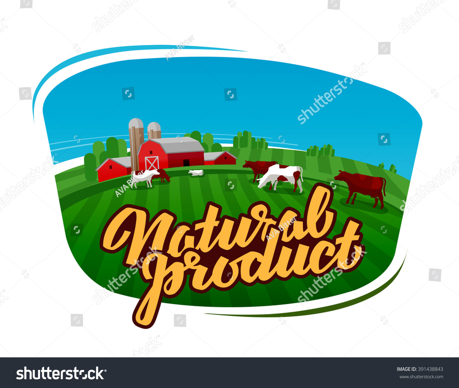 Cow Milk Vector Logo Dairy Farm 391438843 on animal farm landscape