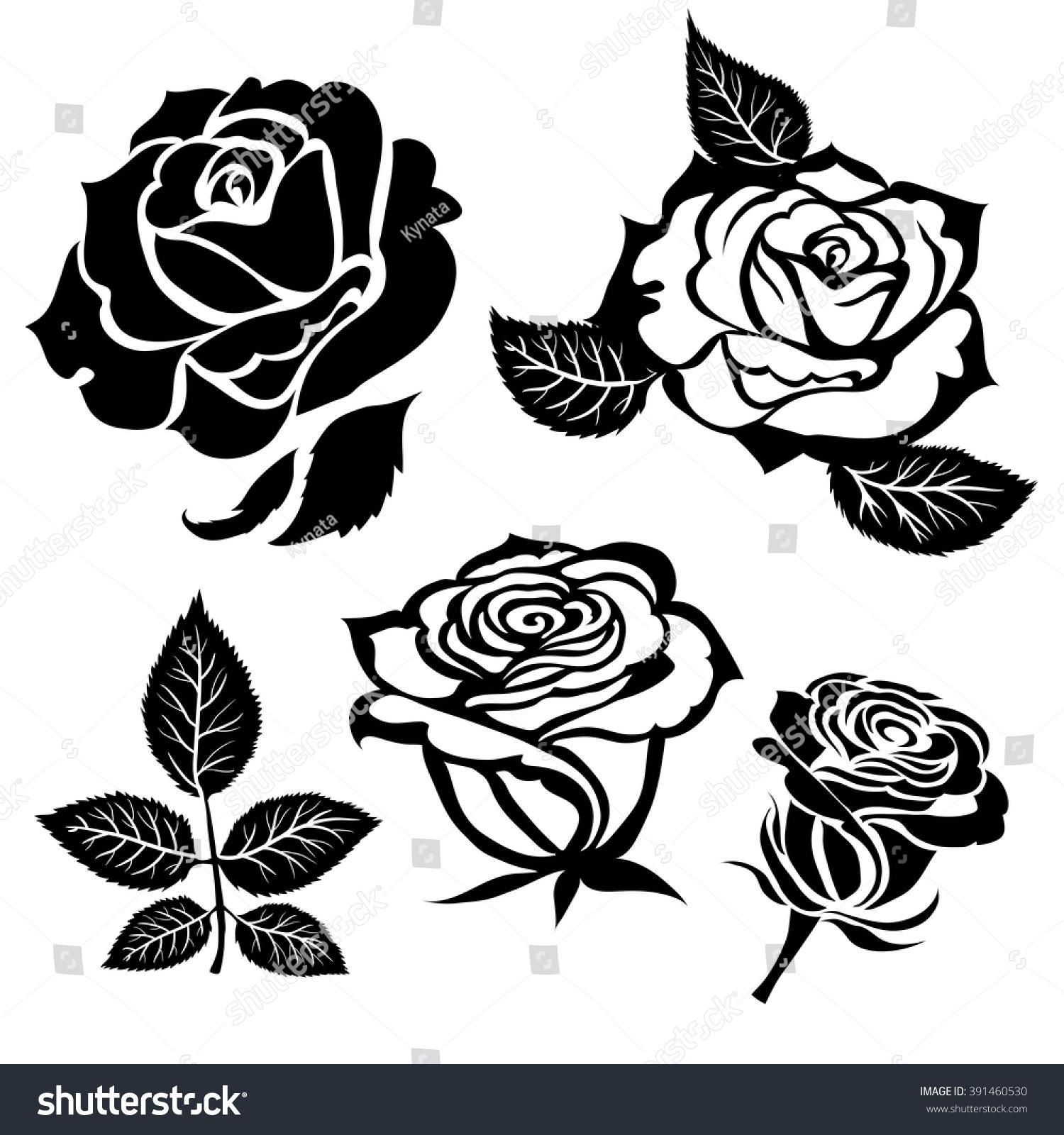 Set Of Black Flower Design Elements Stock Vector: Set Vector Black Rose Flower Design Stock Vector 391460530