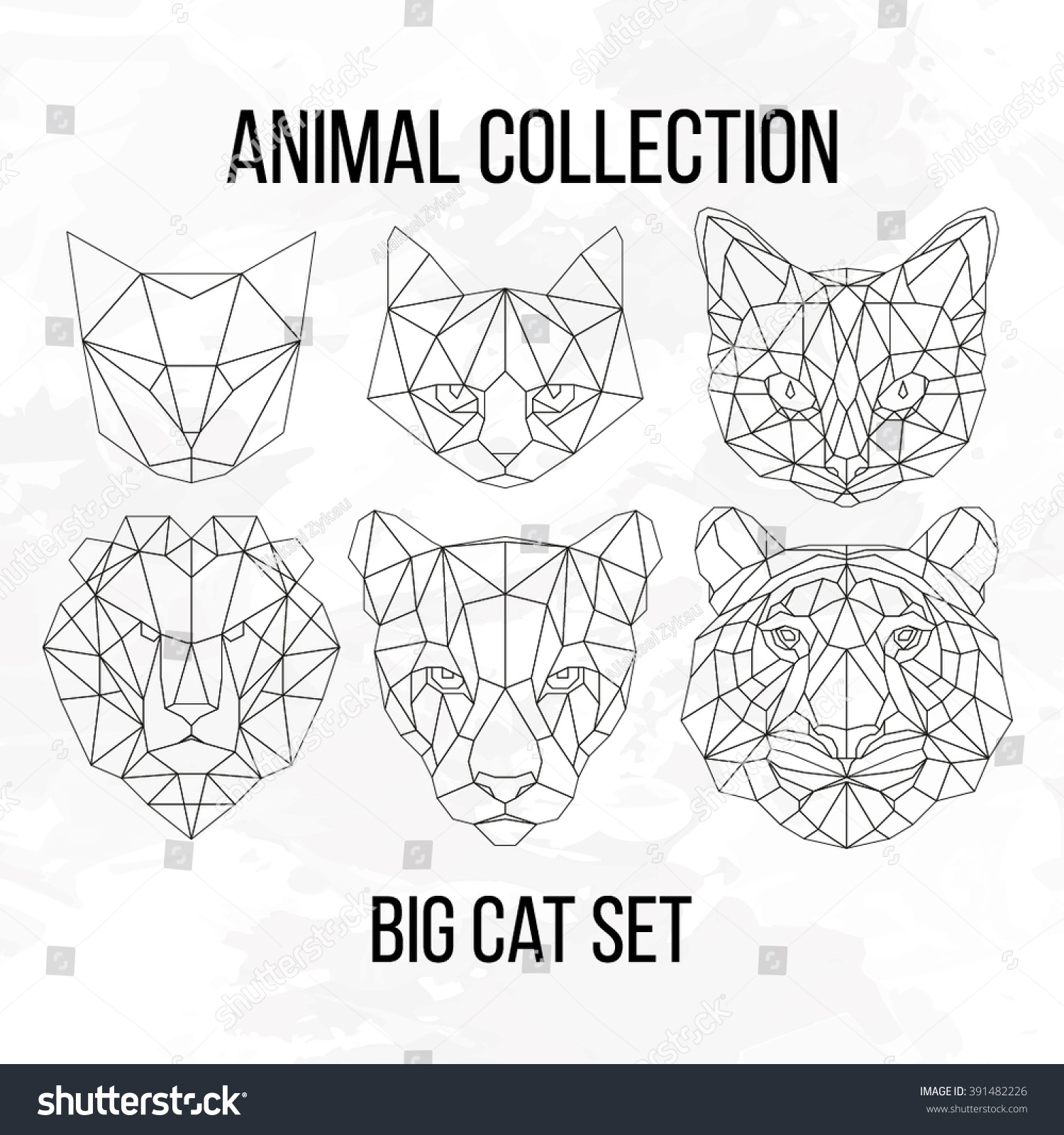 Set Geometric Cat Tiger Lion Puma Stock Vector 391482226 ... - photo#48
