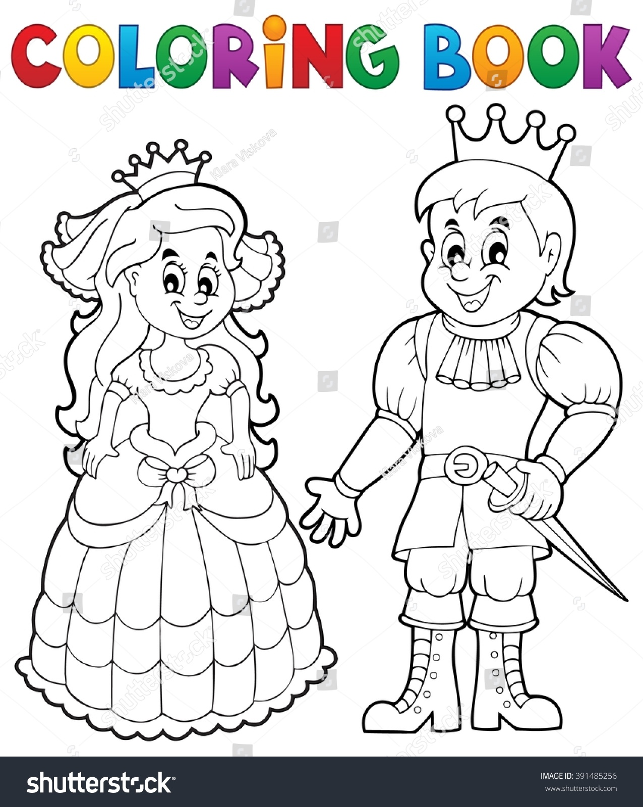 Coloring book princess - Coloring Book Princess And Prince Eps10 Vector Illustration