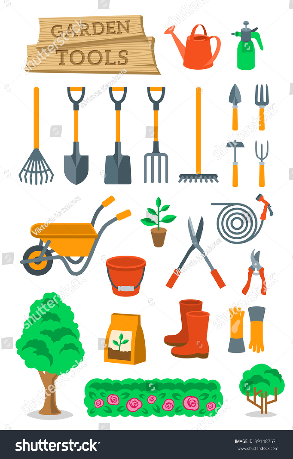 Garden tools farming instruments flat vector stock vector for Gardening tools cartoon