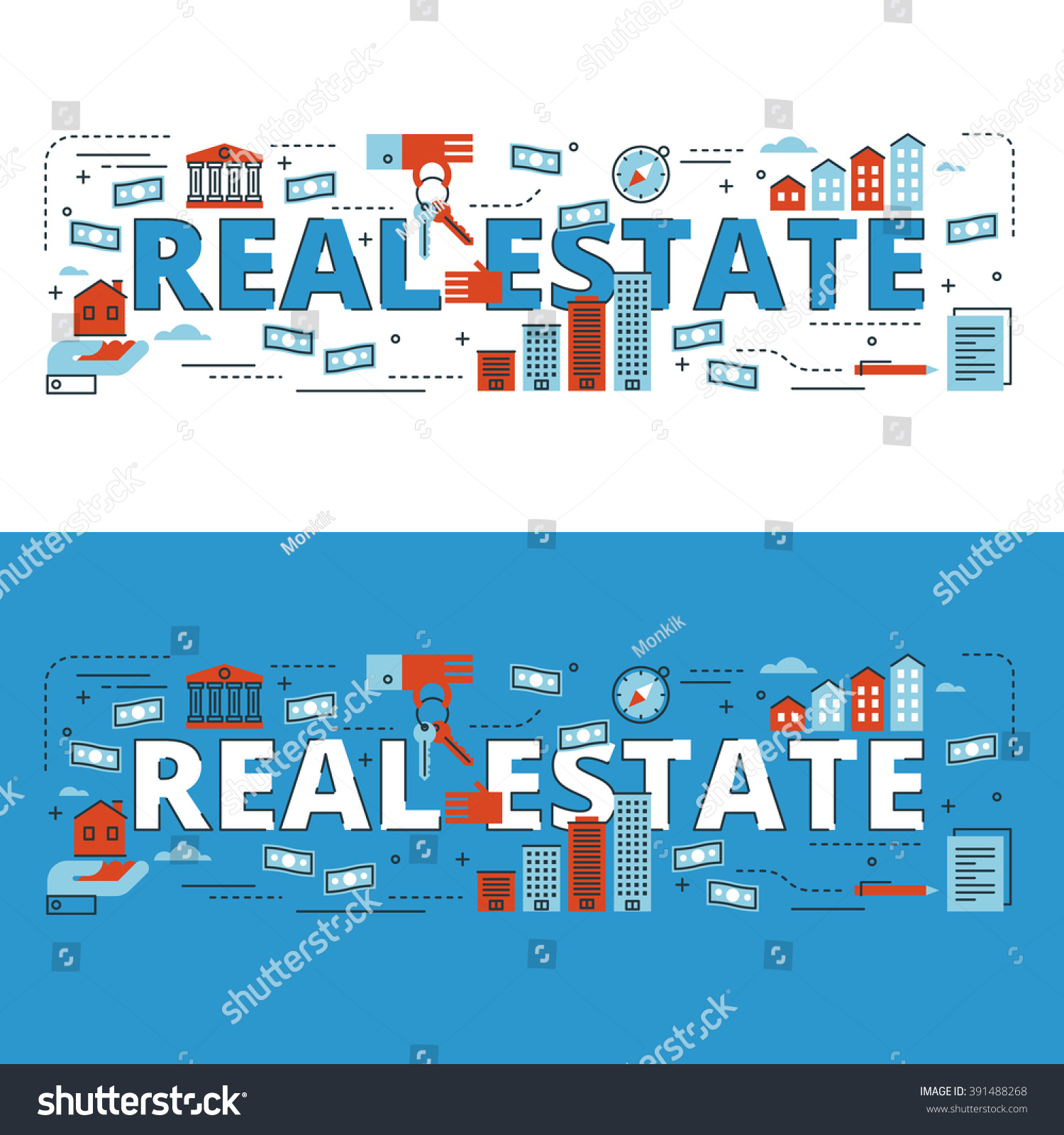 Real Estate Book Cover Design : Real estate lettering flat line design with icons and