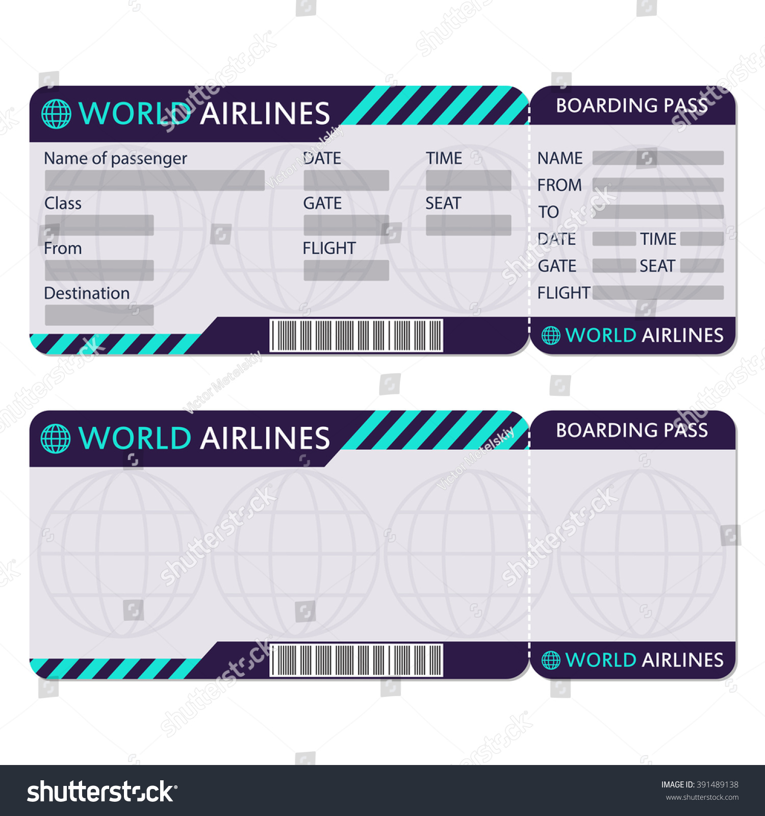 Doc400222 Template Airline Ticket Blank Airline Boarding Pass – Airline Ticket Template Word