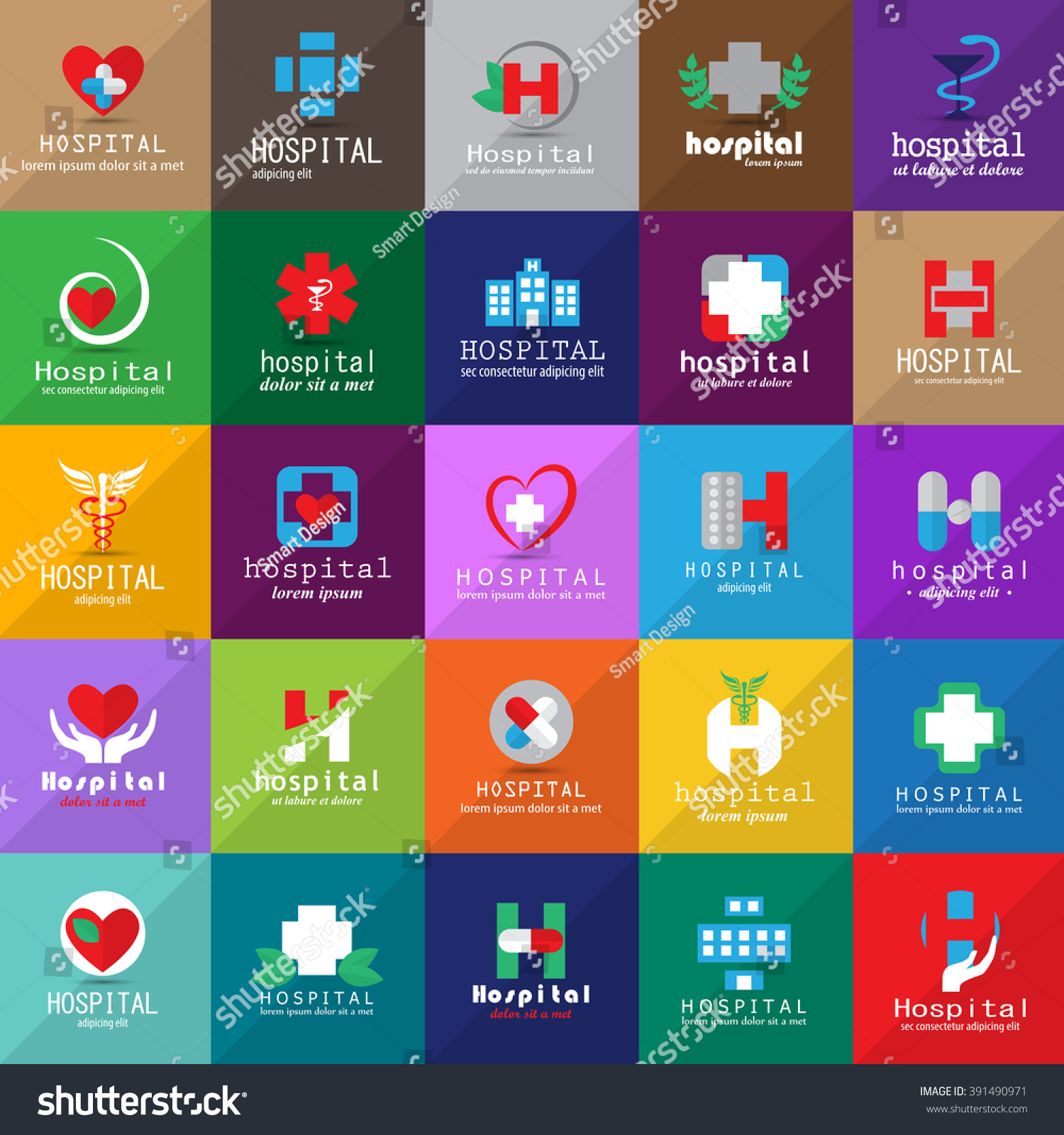 Hospital Medical Icons Set Isolated On Background Vector Stock