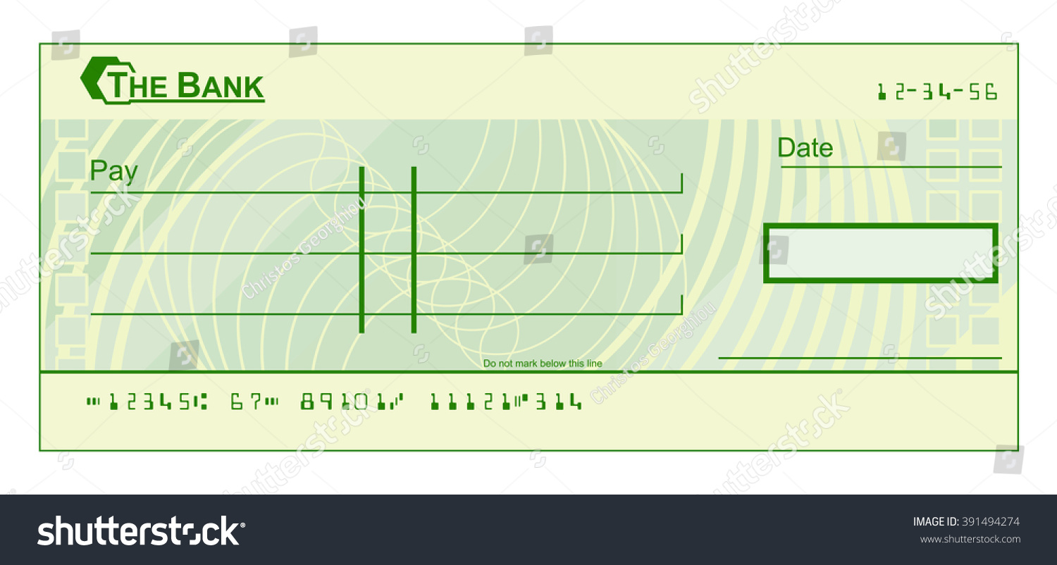 Blank Cheque Check Template Illustration Vector 391494274 – Check Template