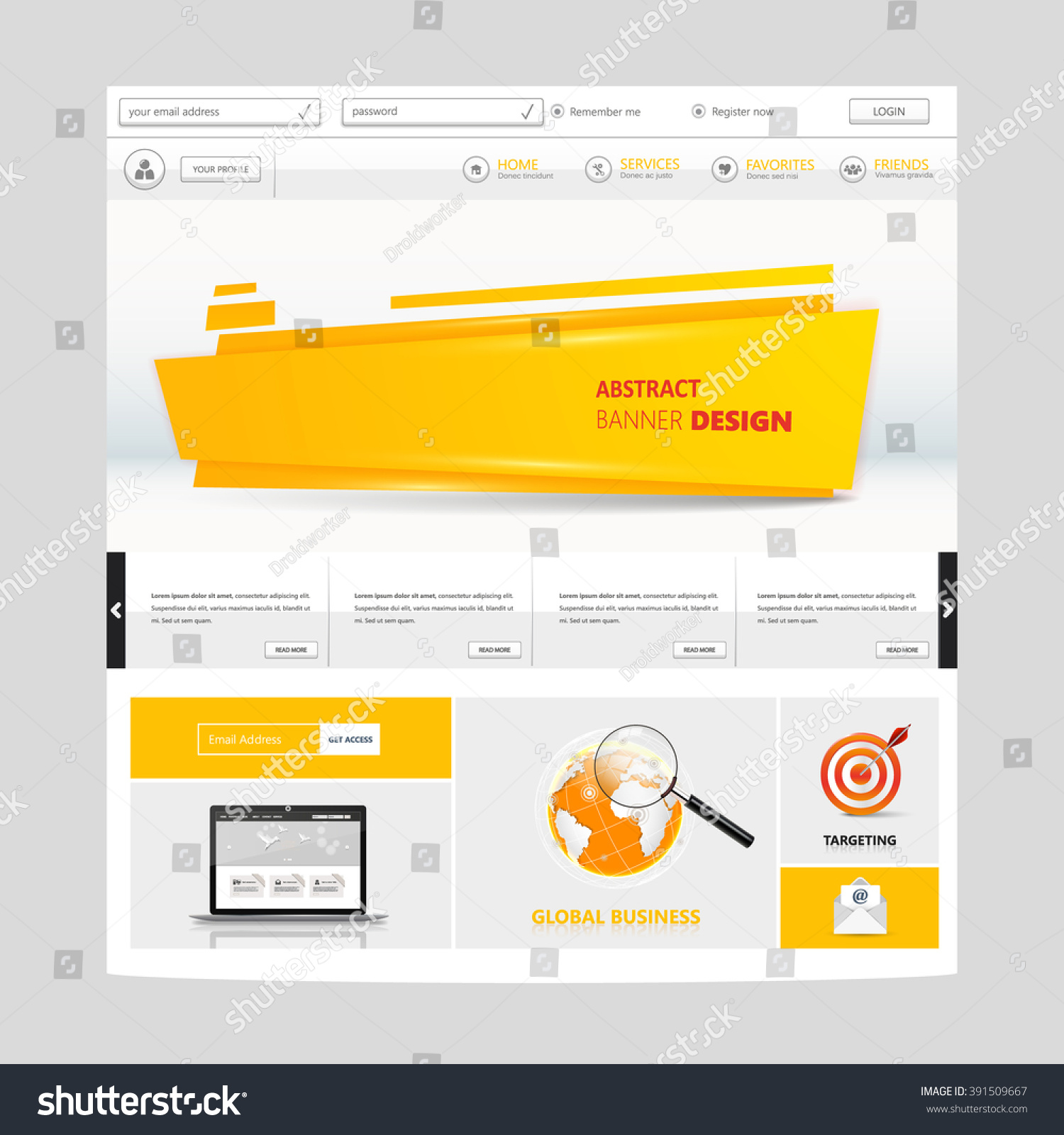 White Orange Colored Website Template Vector Stock Vector Royalty