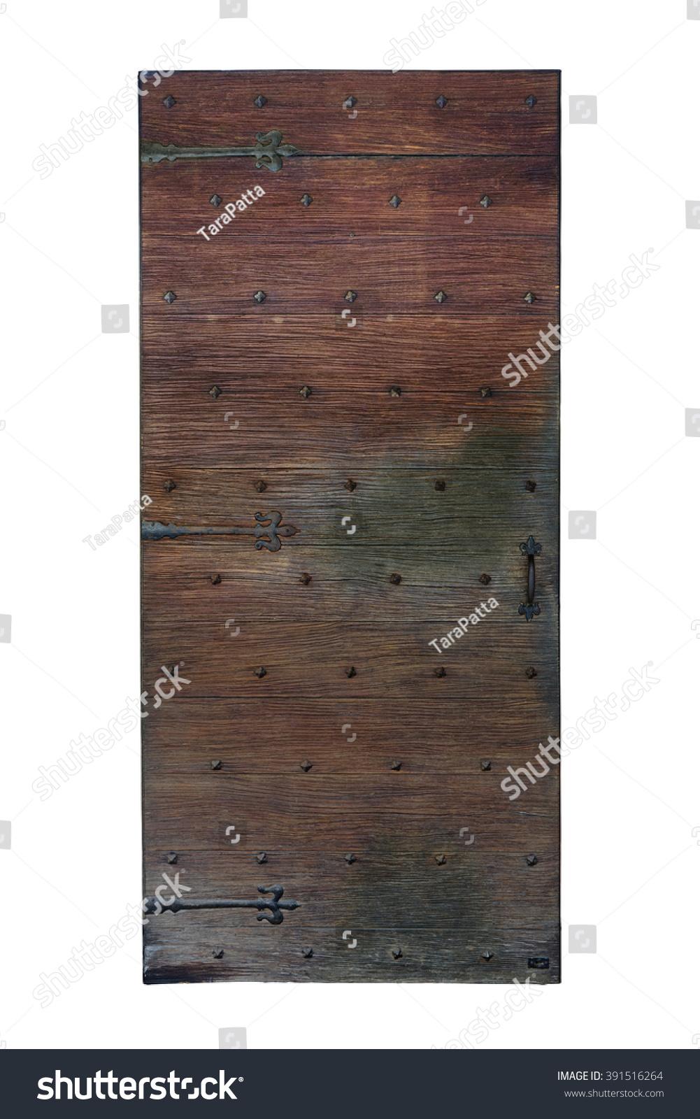 Old Wooden Door Steel Parts Isolate Stock Photo 391516264 ...