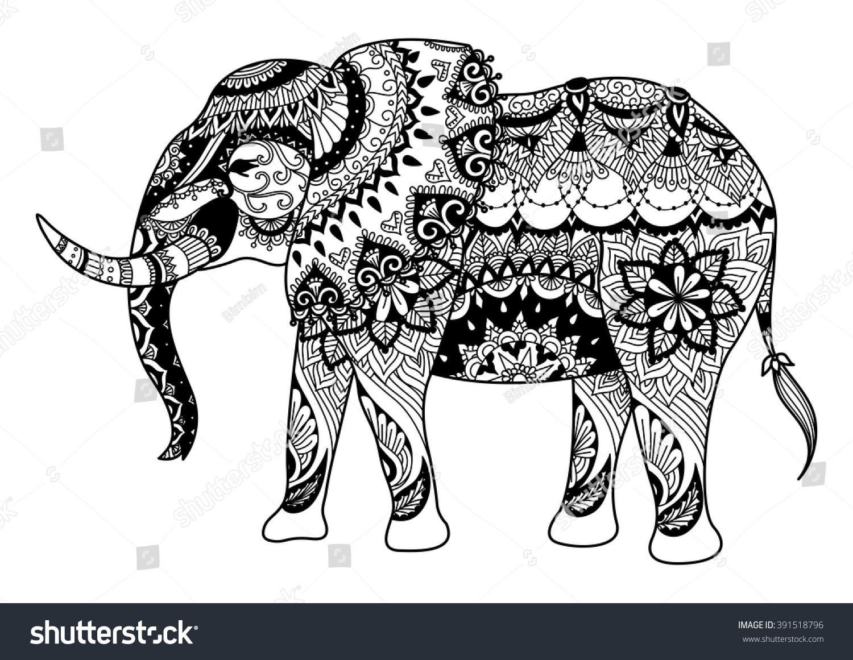 Mandala Elephant Design Cards Tattoo T Stock Vector