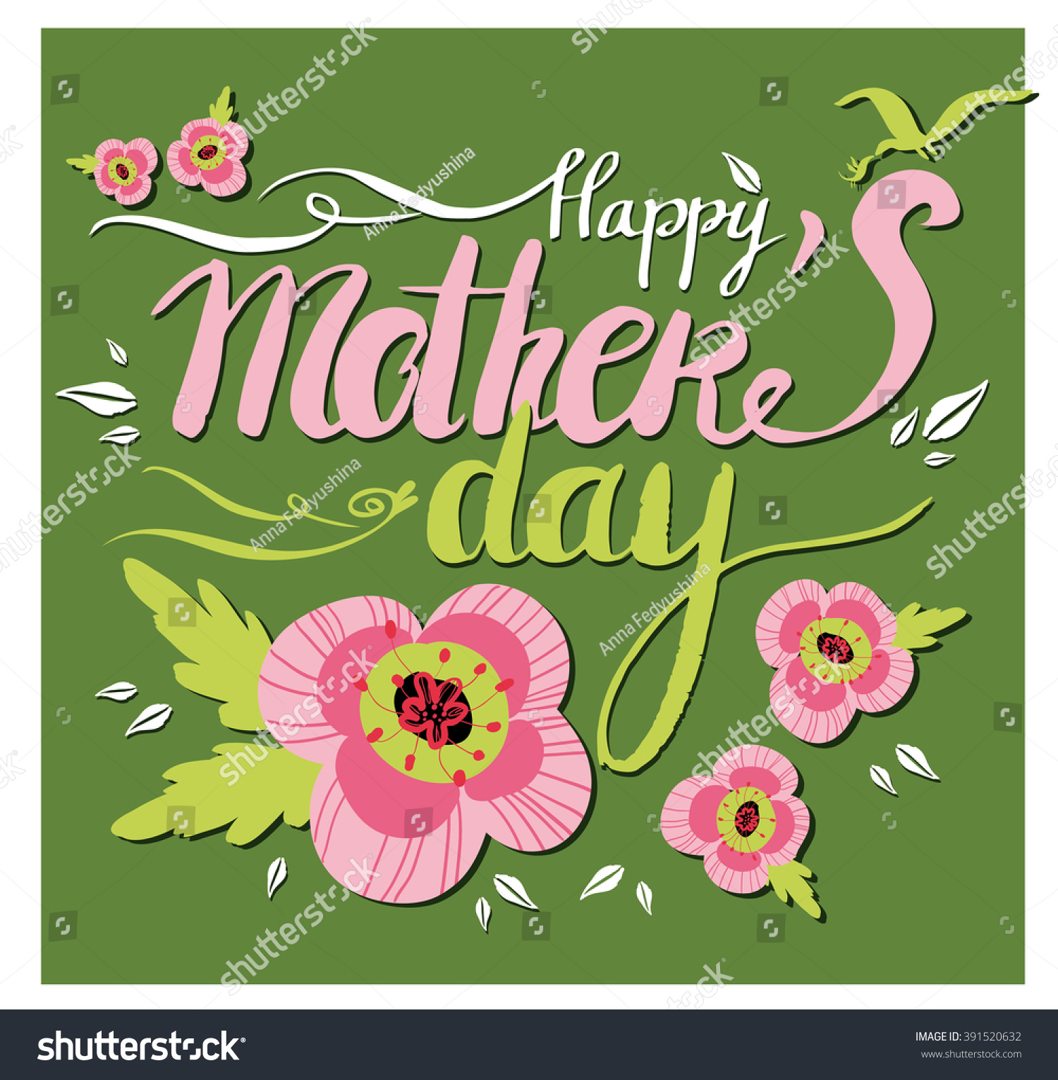vector happy mothers day lettering flowers stock vector 391520632