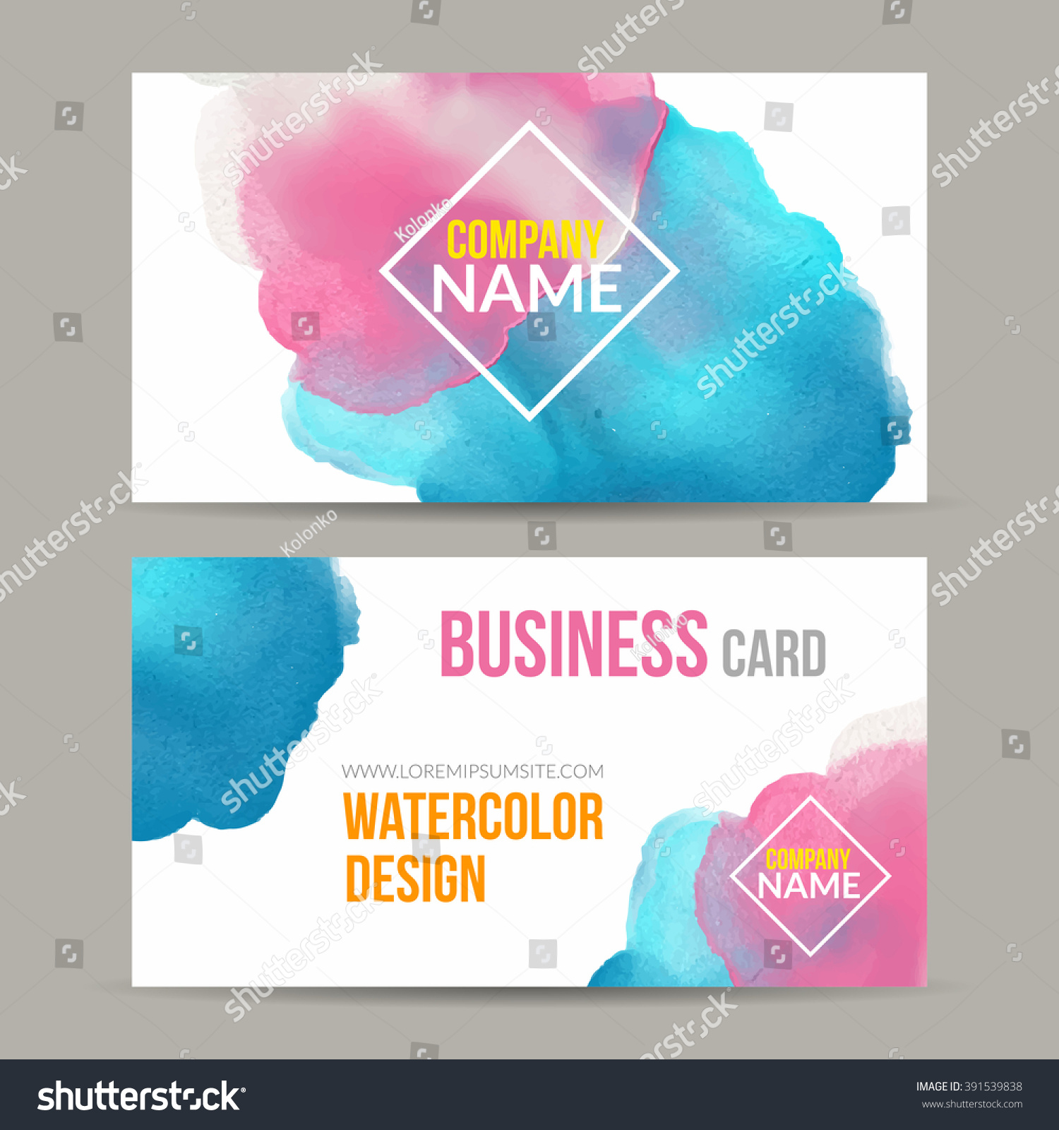 Vector Business Cards Template Watercolor Paint Stock Vector ...
