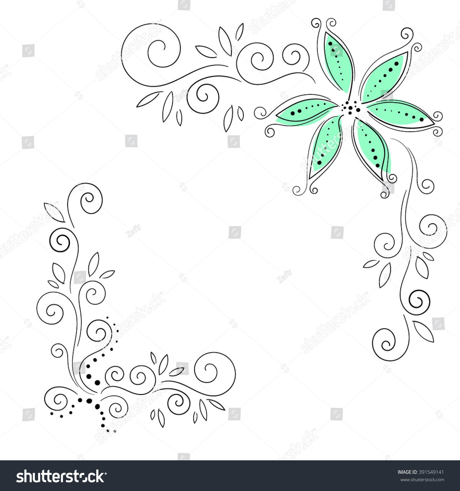 Flowery Corner Vector Illustration Floral Hand Stock Vector (Royalty ...