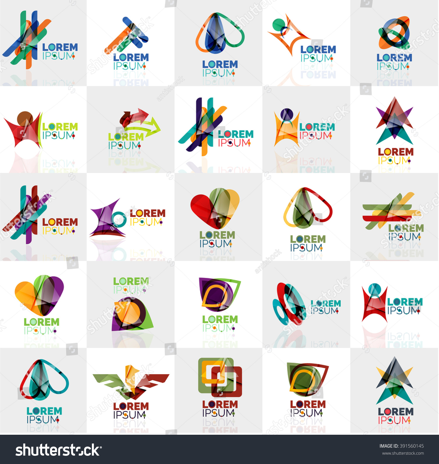 Collection Colorful Abstract Origami Logos Company Stock ... - photo#42