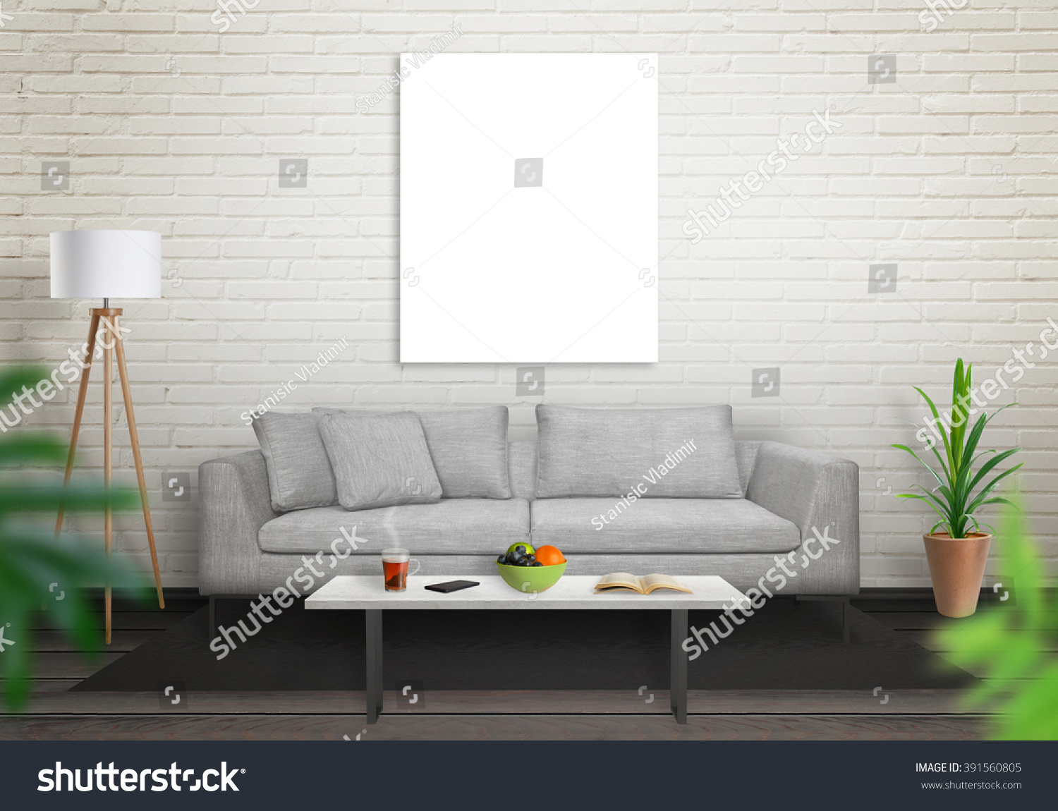 Isolated Art Canvas In Living Room For Mockup Brick White Wall And Black Wooden Floor