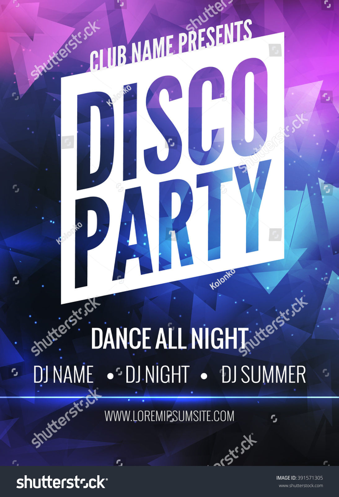 disco party poster template night dance stock vector 391571305 disco party poster template night dance party flyer disco party design template on dark